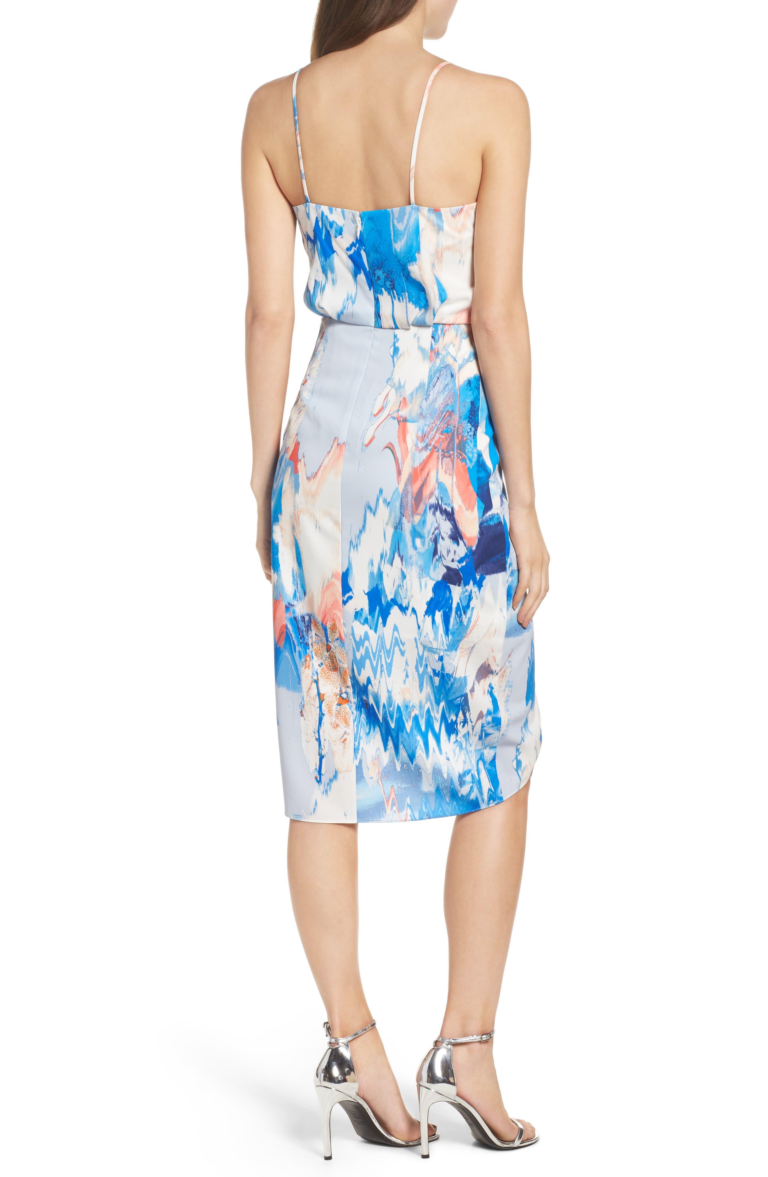 Print Faux Wrap Dress,                             Alternate thumbnail 2, color,                             BLUE WATERCOLOR FLORAL PRINT