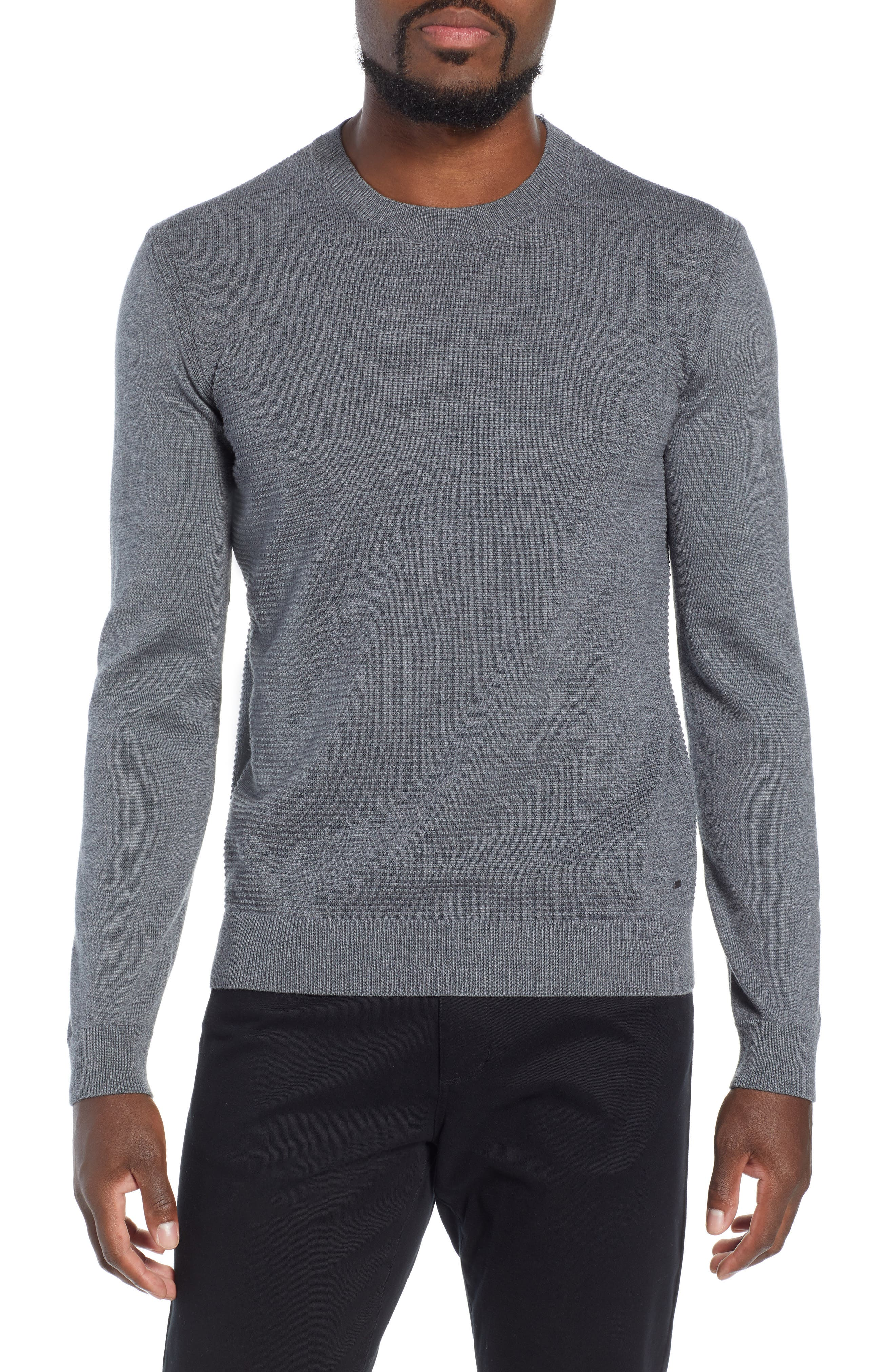 BOSS,                             Ellegri Regular Fit Wool Pullover,                             Main thumbnail 1, color,                             030