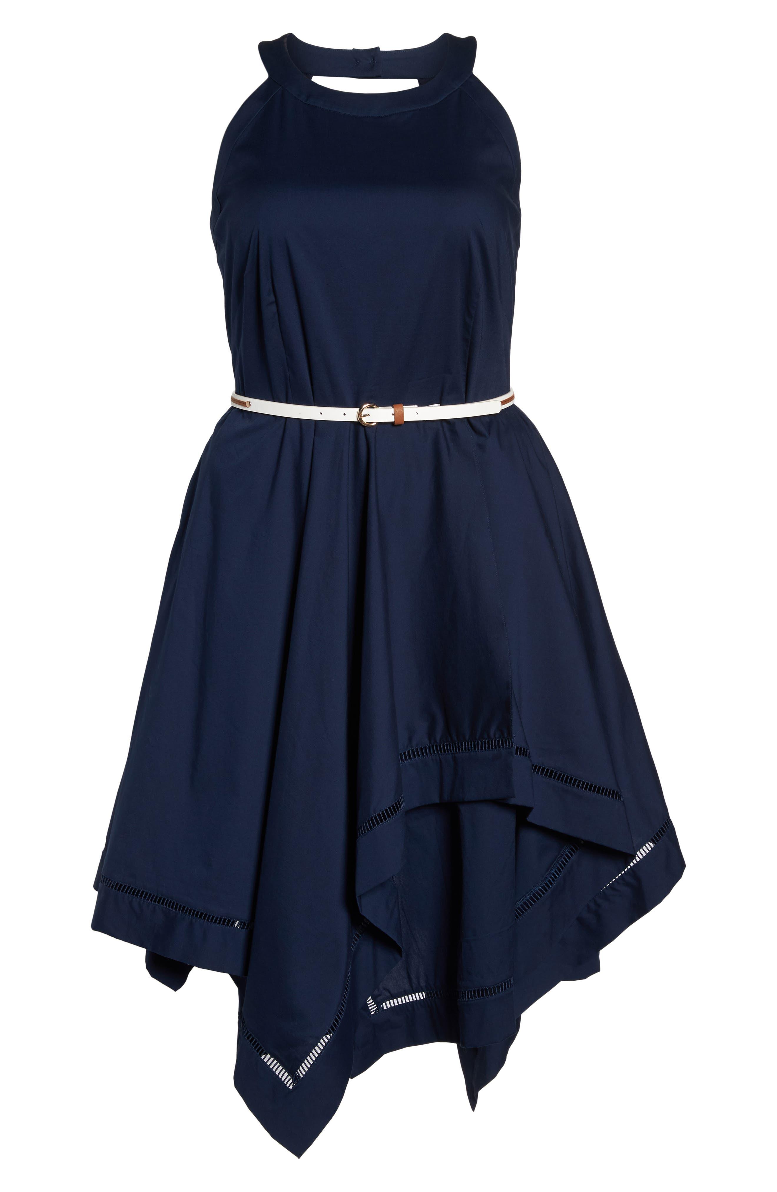 Handkerchief Hem Fit & Flare Dress,                             Alternate thumbnail 6, color,