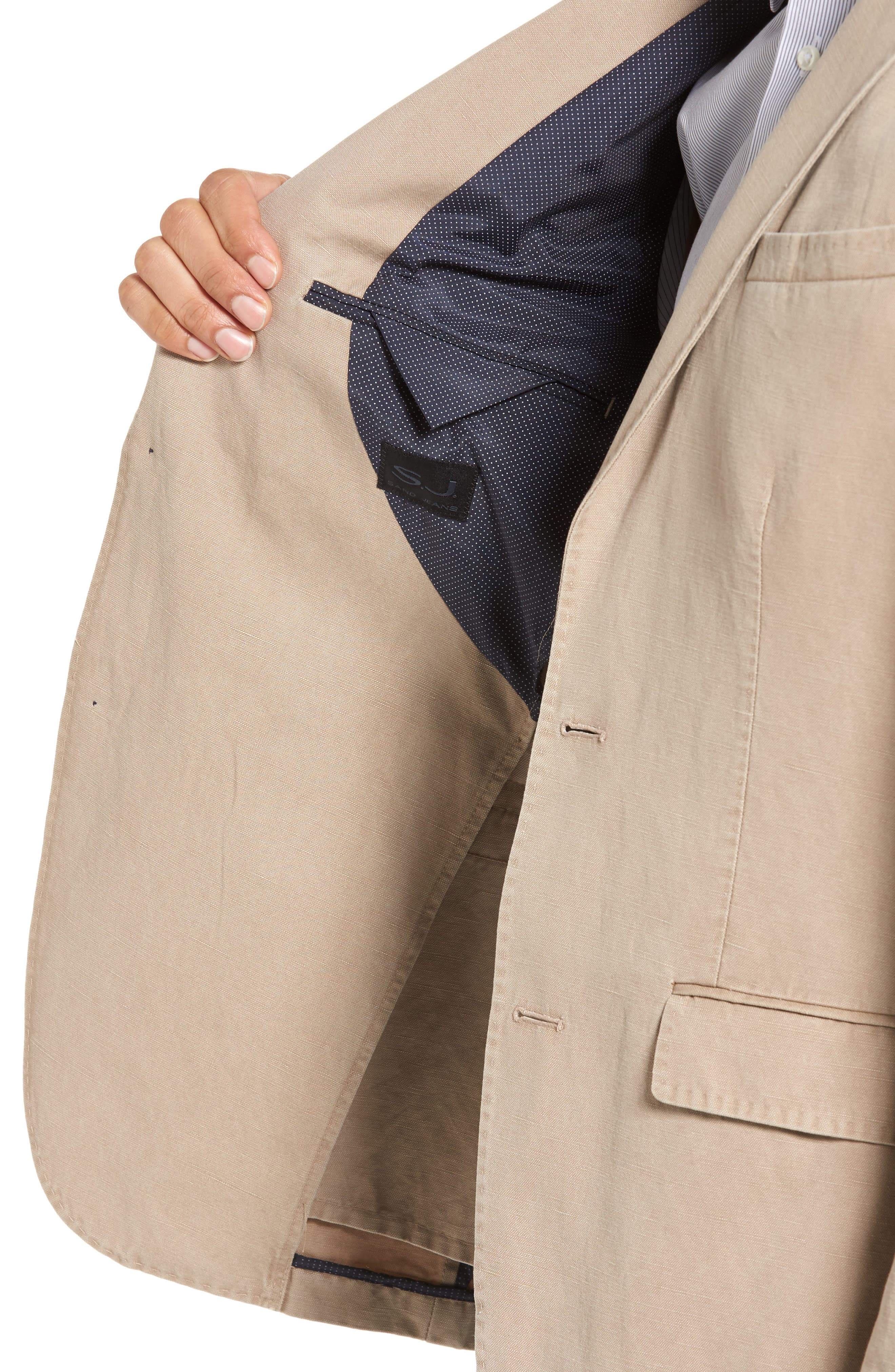 Trim Fit Cotton & Linen Blazer,                             Alternate thumbnail 4, color,                             271