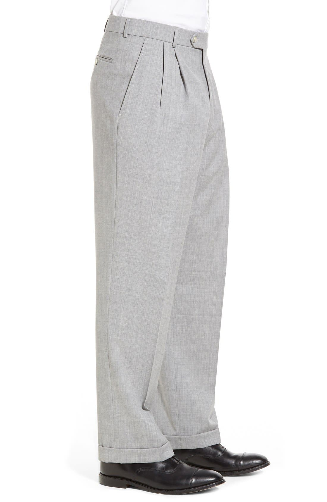 Pleated Solid Wool Trousers,                             Alternate thumbnail 31, color,