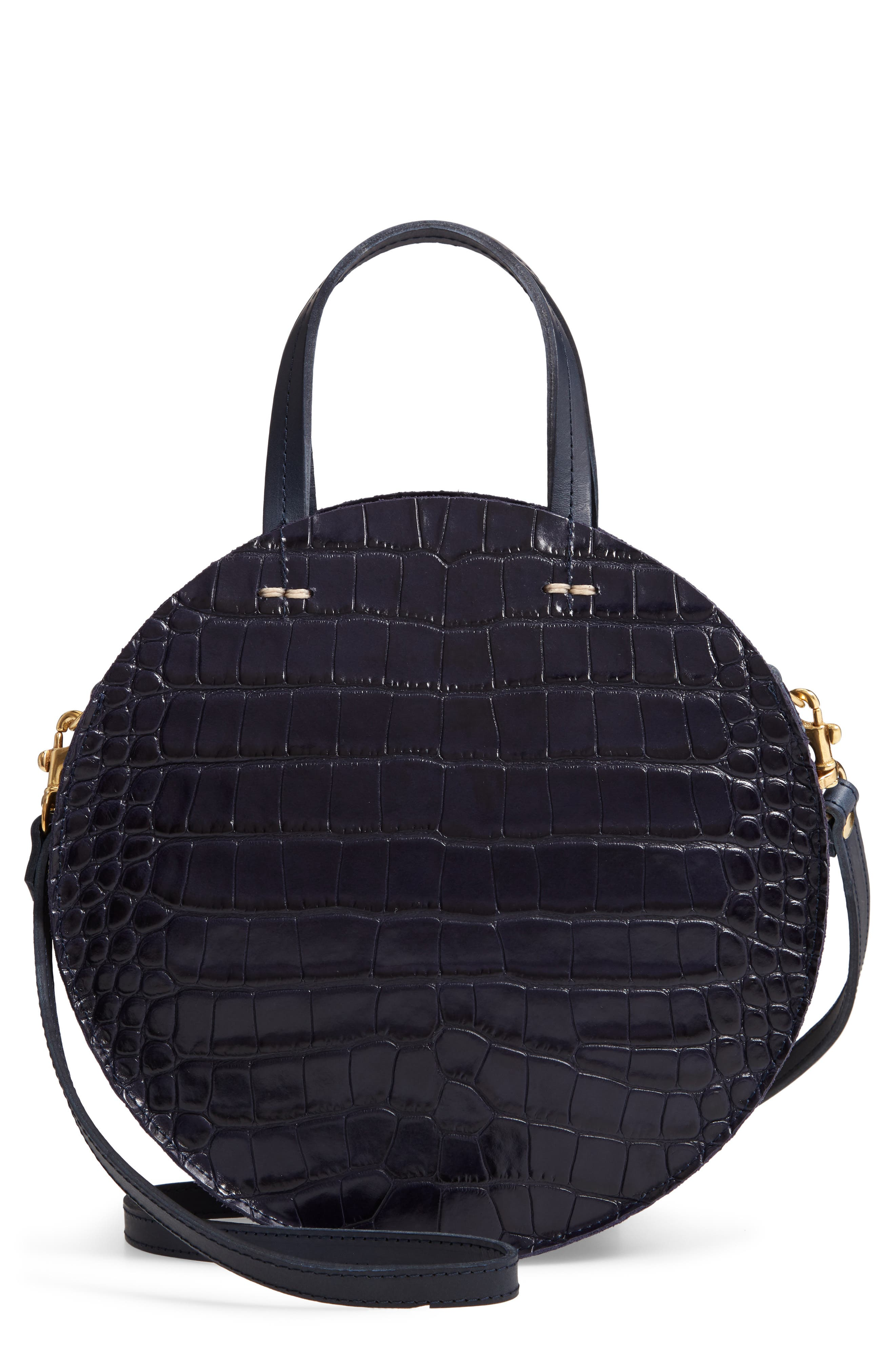 CLARE V Clare V Petit Alistair Croc Embossed Leather Circular Crossbody Bag - Black in Midnight Croco