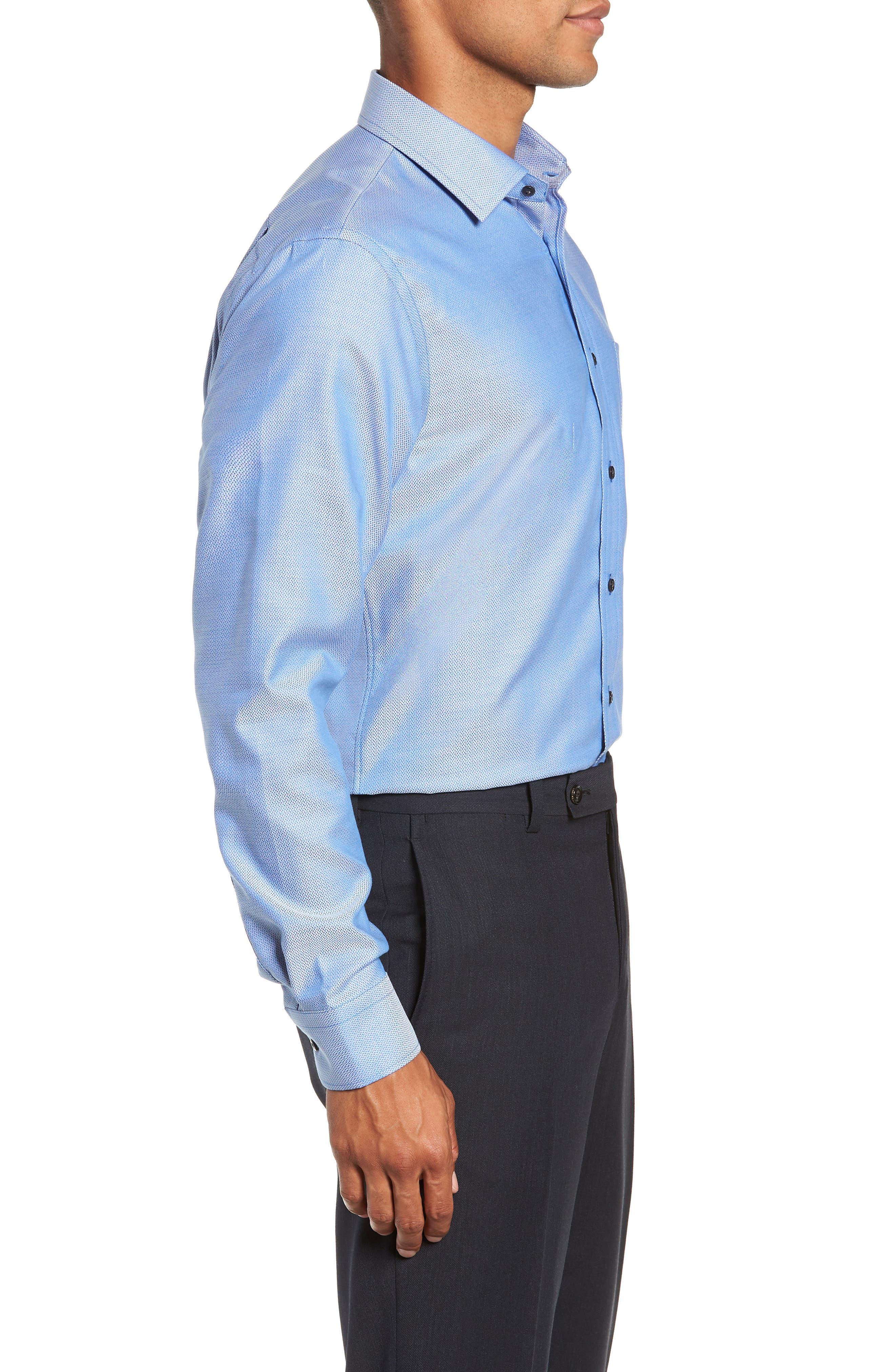 Trim Fit No-Iron Geometric Dress Shirt,                             Alternate thumbnail 4, color,                             BLUE CAMP