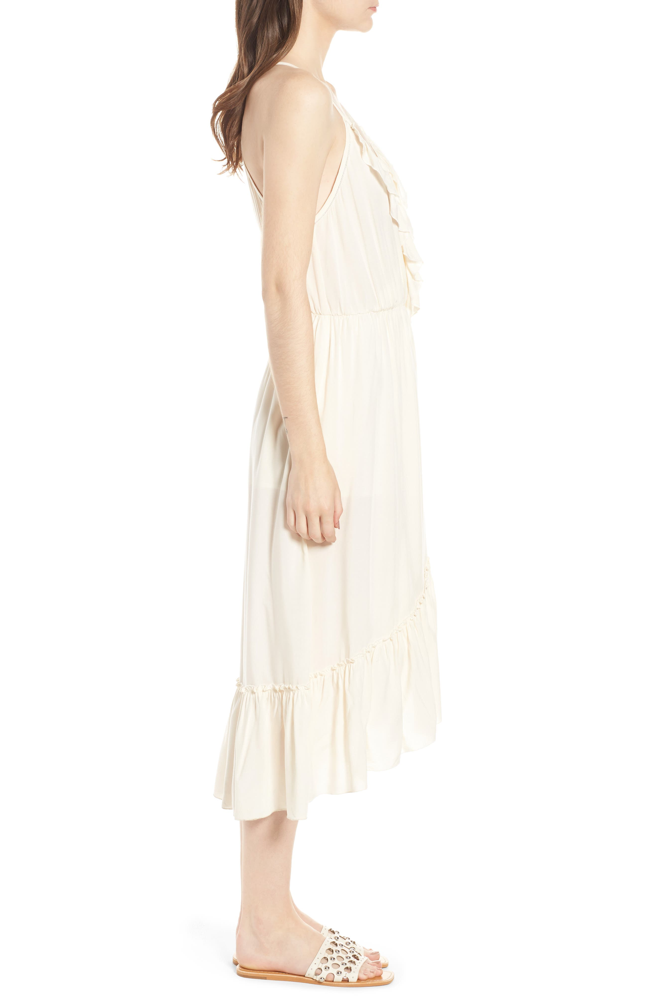 Wrap Style Midi Dress,                             Alternate thumbnail 3, color,                             COLOR 01 OFF WHITE