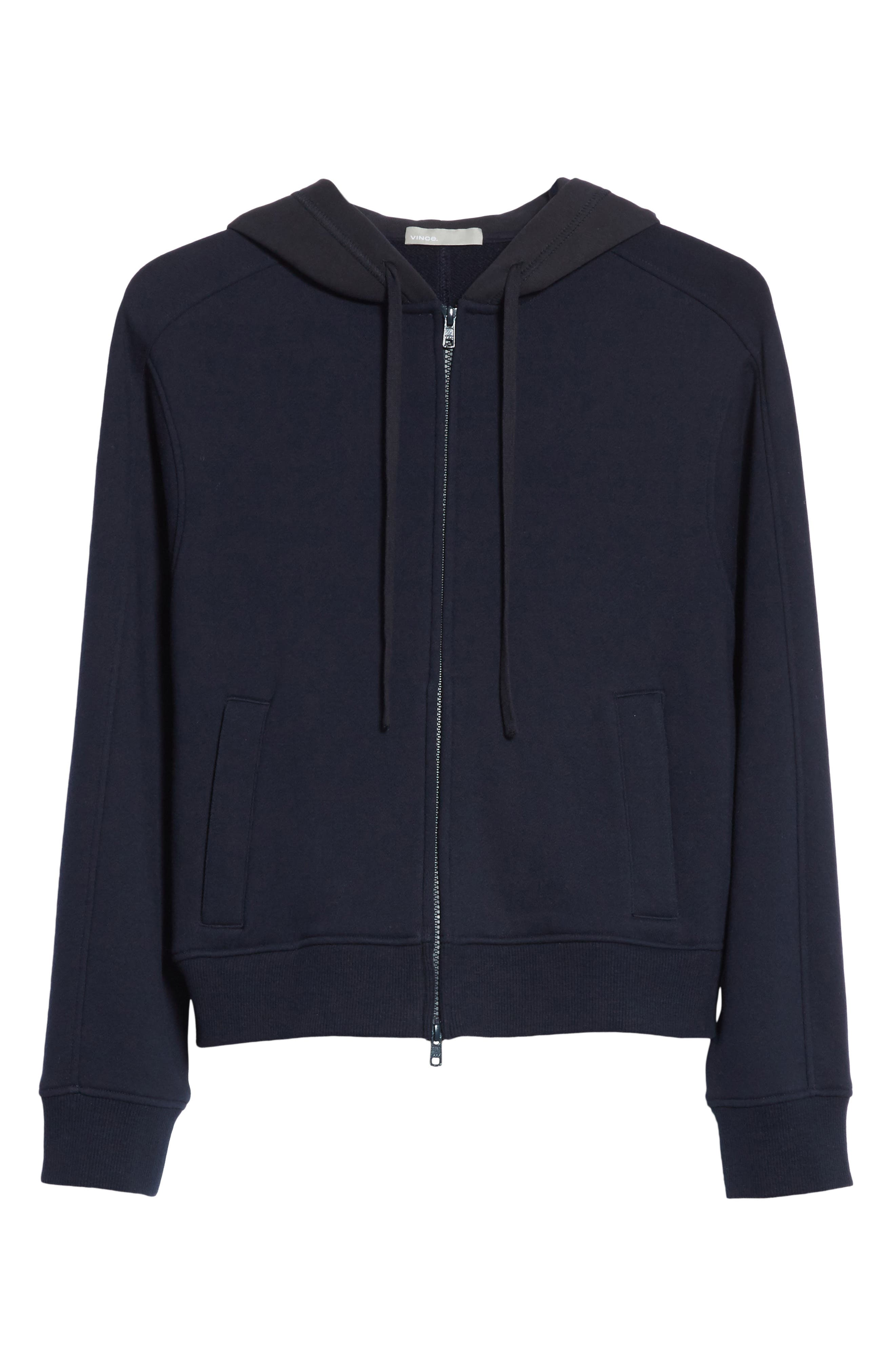 Crop Zip Hoodie,                             Alternate thumbnail 6, color,                             001