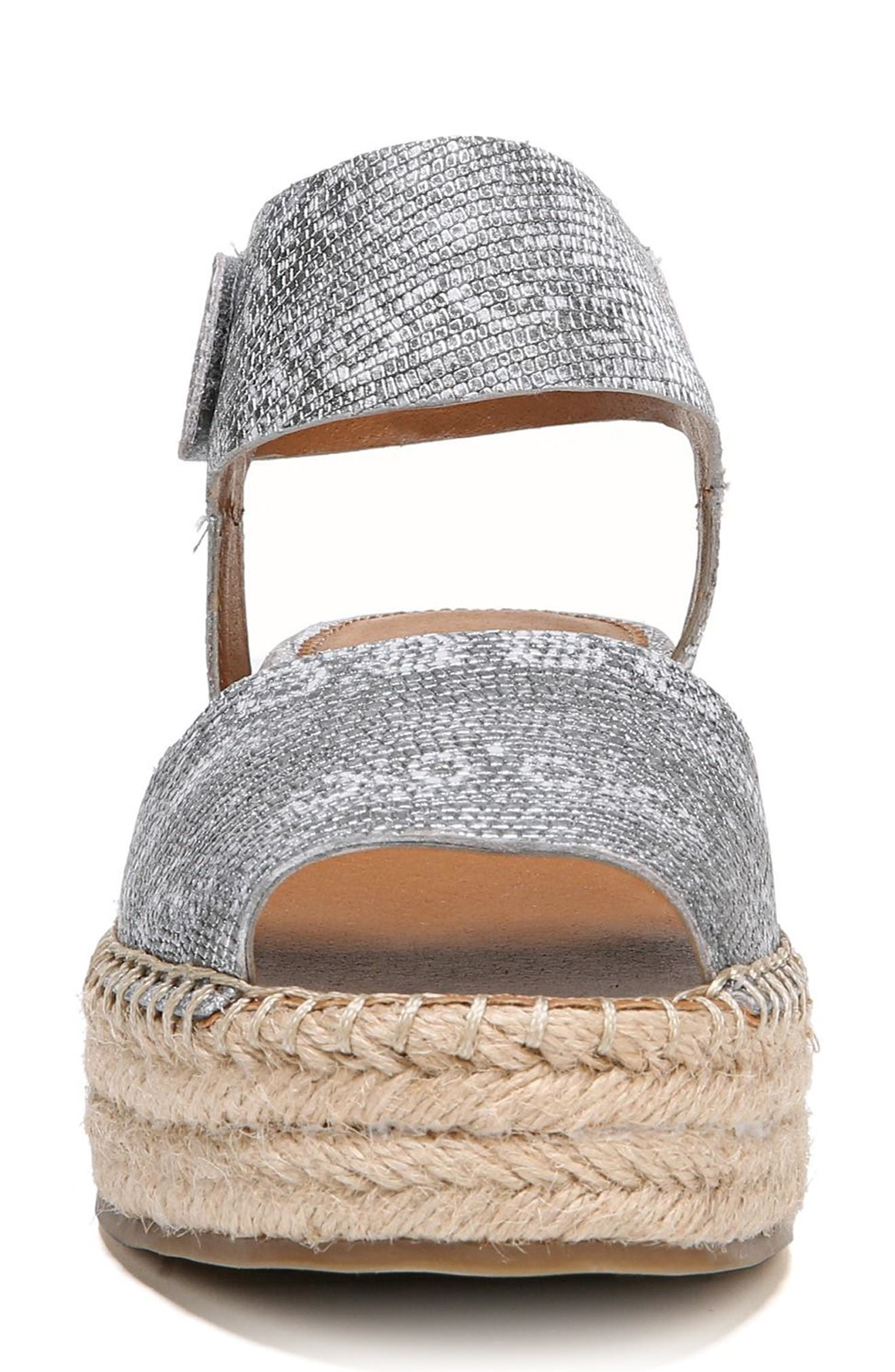 Oak Platform Wedge Espadrille,                             Alternate thumbnail 4, color,                             SILVER PRINTED LEATHER