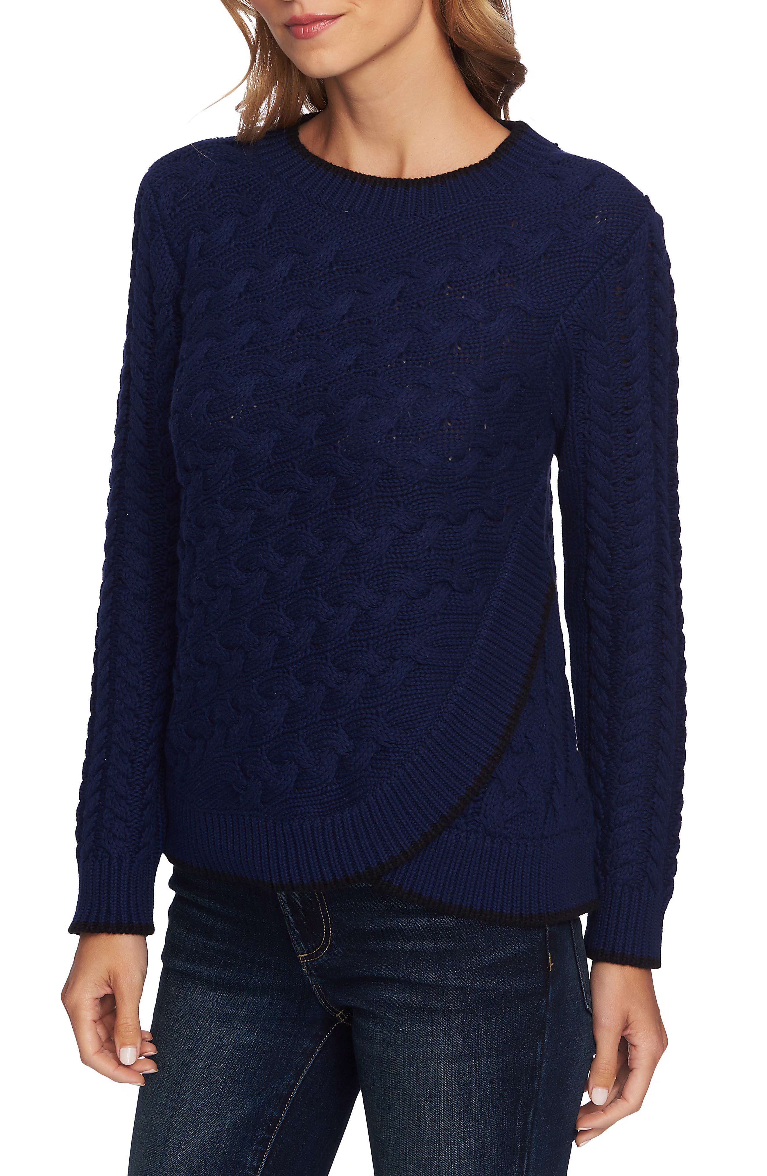Cable Knit Overlay Cotton Sweater,                             Alternate thumbnail 3, color,                             MIDNIGHT BLOOM