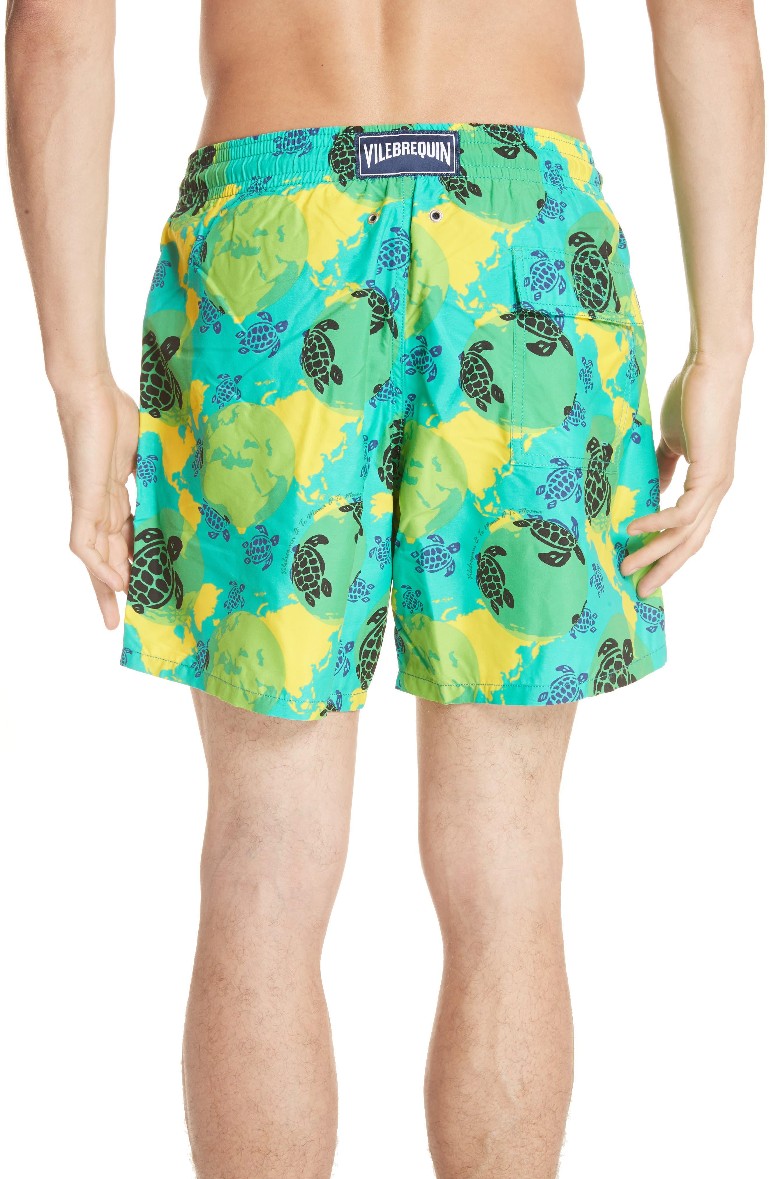 Eco Turtle Print Swim Trunks,                             Alternate thumbnail 2, color,                             VERONESE GREEN