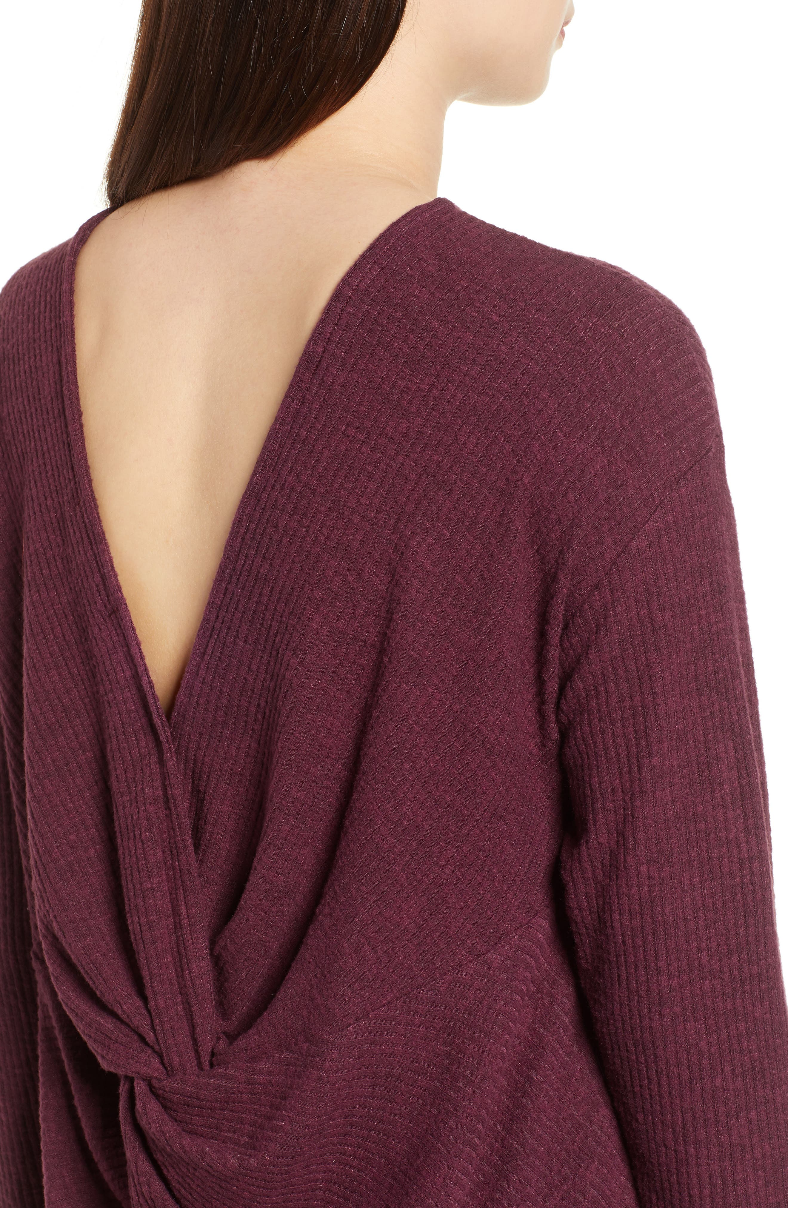 Ribbed Cozy Fleece Twist Back Top,                             Alternate thumbnail 16, color,