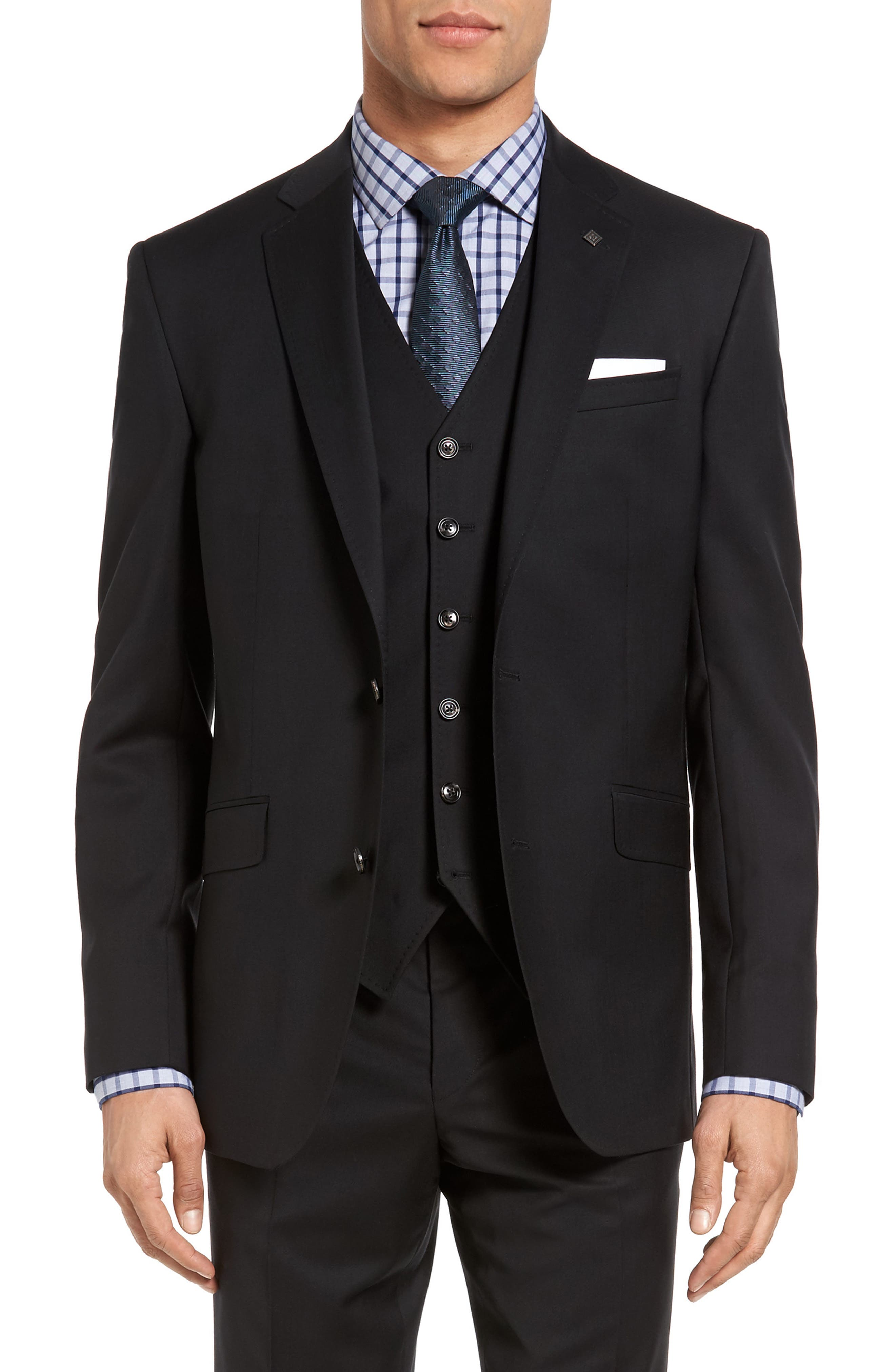 Jones Trim Fit Wool Suit,                             Main thumbnail 1, color,                             001