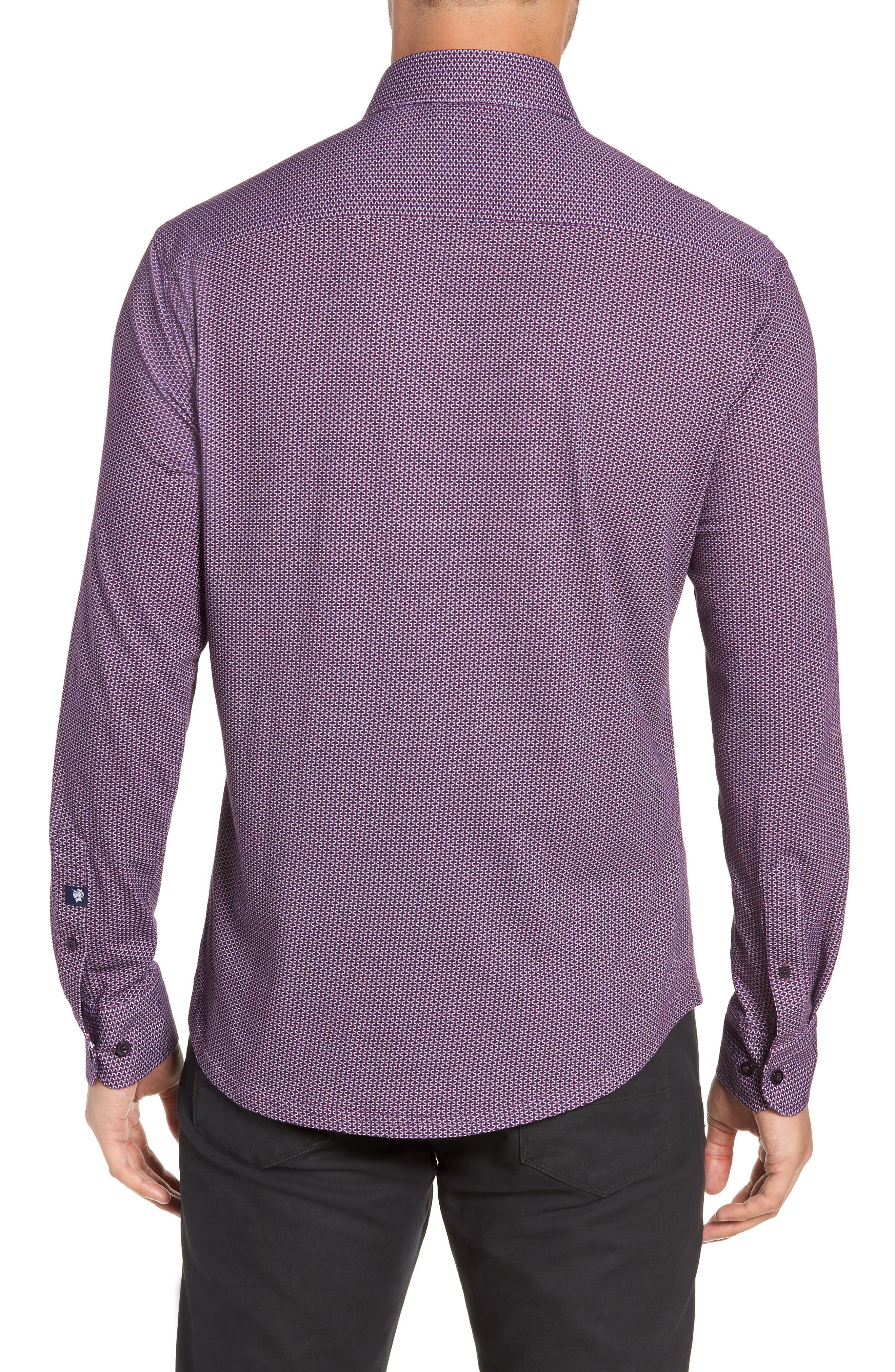 Trim Fit Knit Sport Shirt,                             Alternate thumbnail 3, color,                             PURPLE
