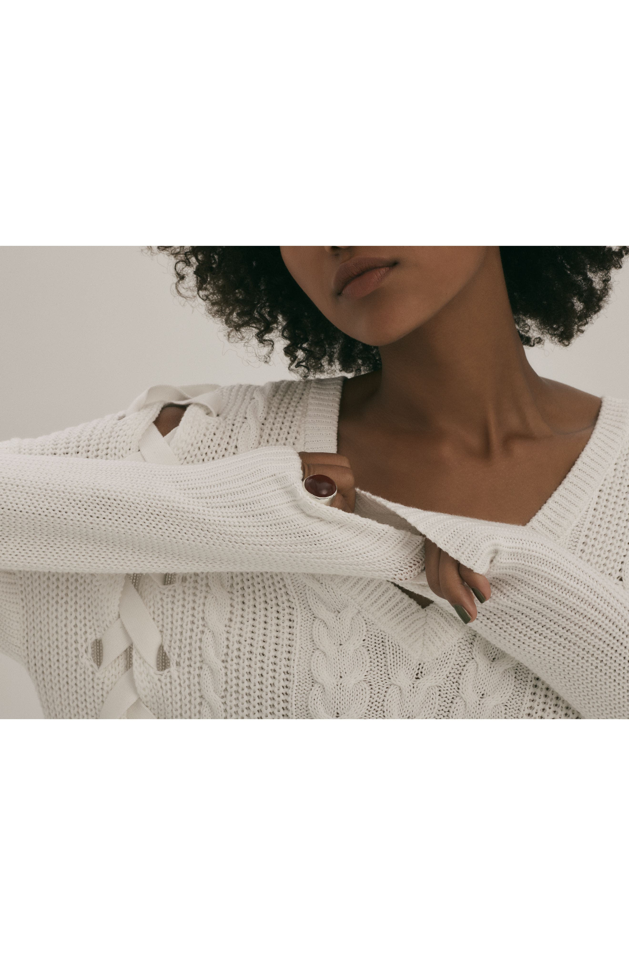 Lace-Up Cable Sweater,                             Alternate thumbnail 5, color,