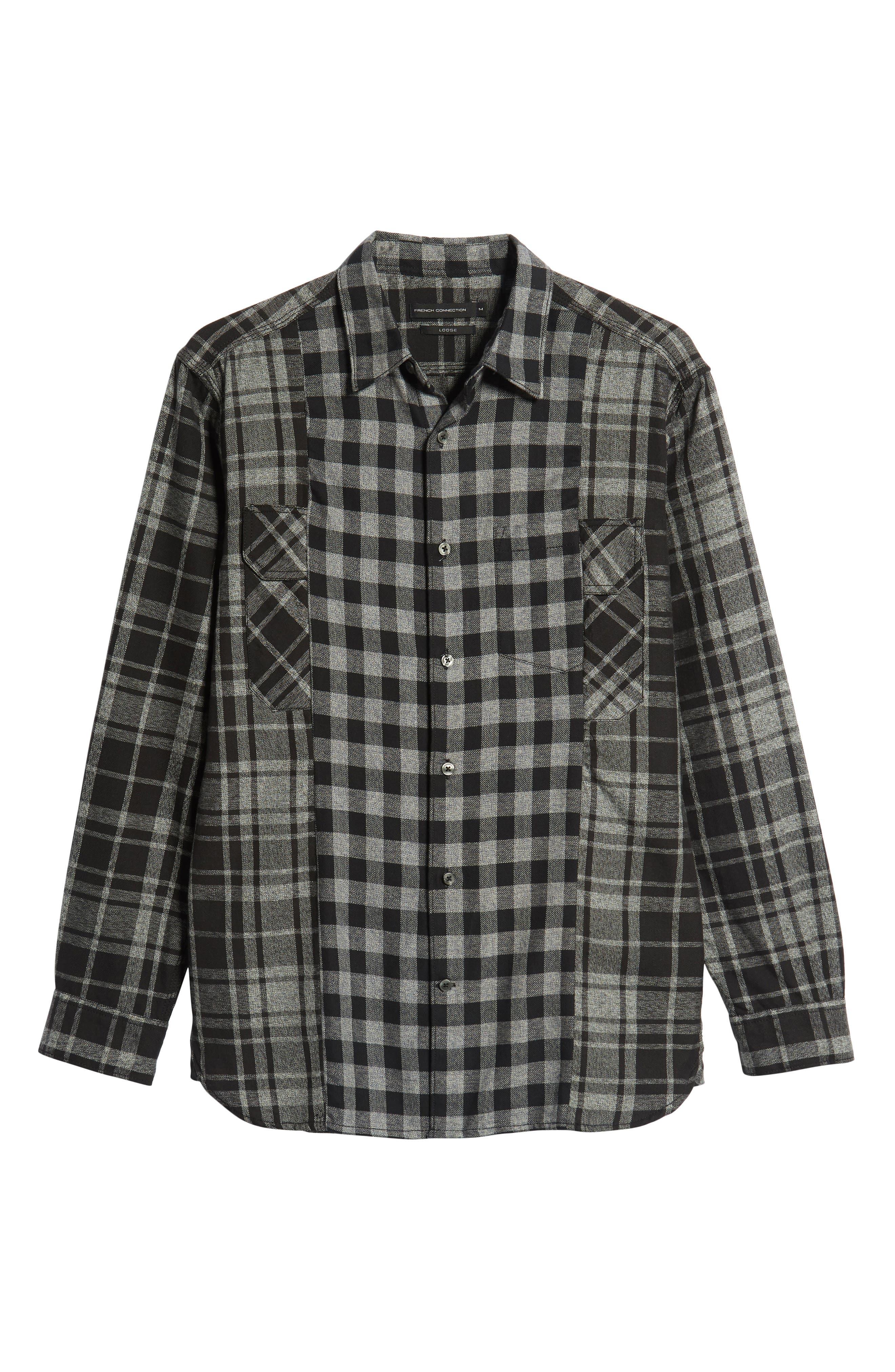 Bits & Pieces Loose Fit Sport Shirt,                             Alternate thumbnail 5, color,                             BLACK CHECKS
