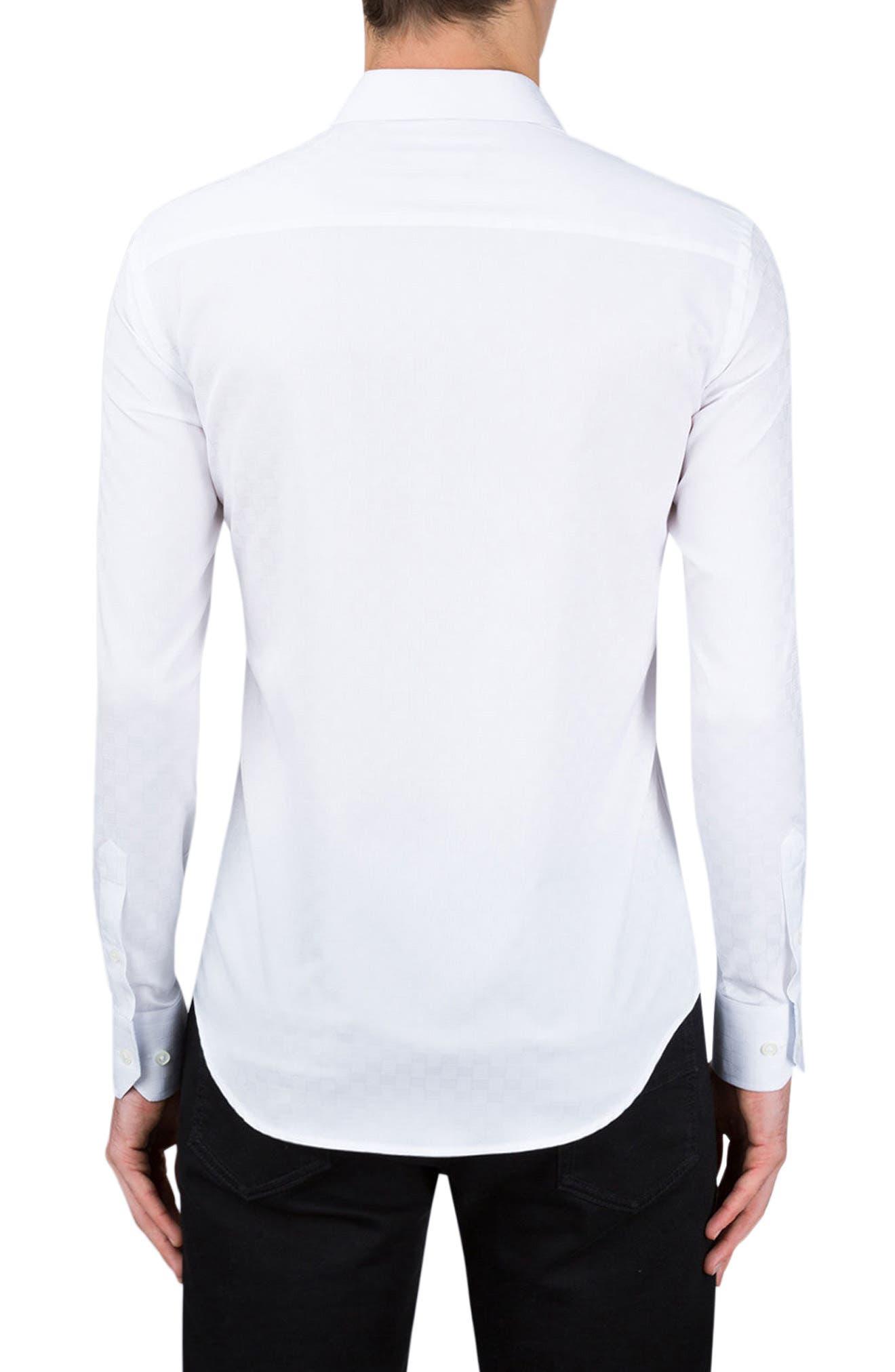 Shaped Fit Checker Print Sport Shirt,                             Alternate thumbnail 5, color,