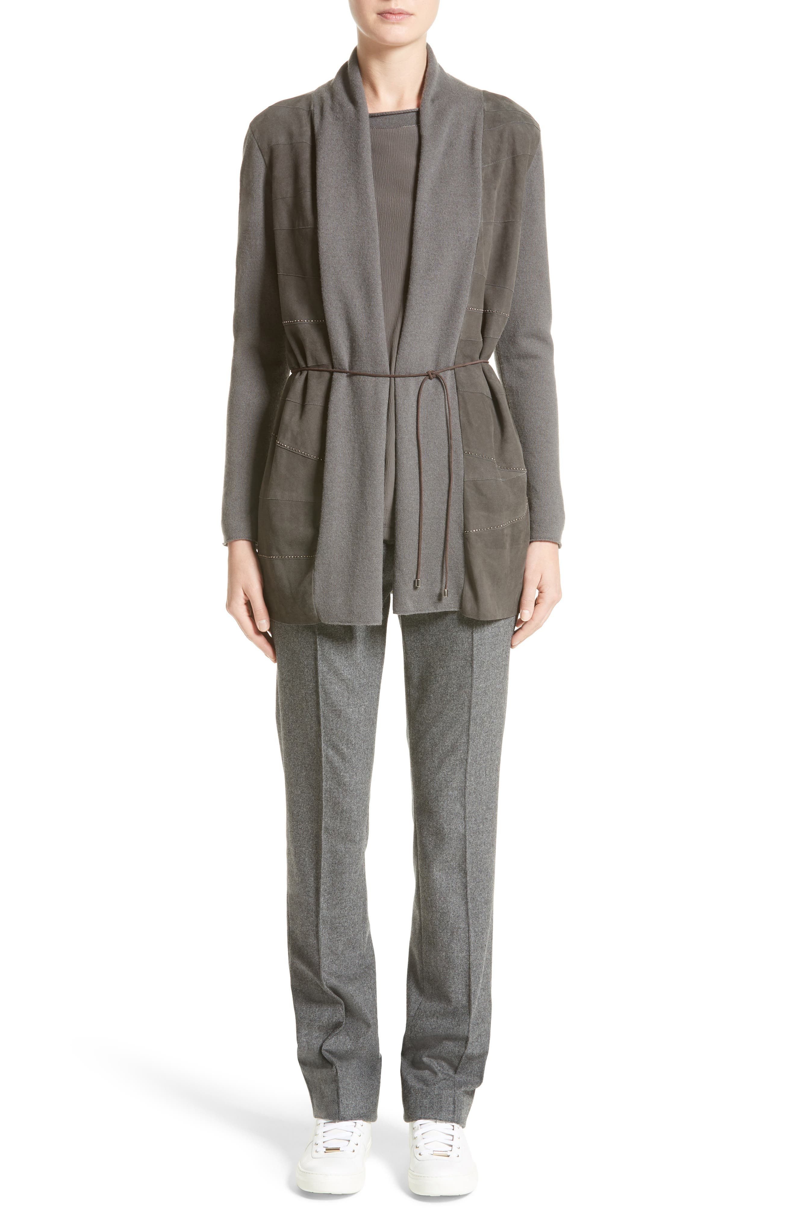 Suede Trim Wool, Silk & Cashmere Cardigan,                             Alternate thumbnail 6, color,                             030