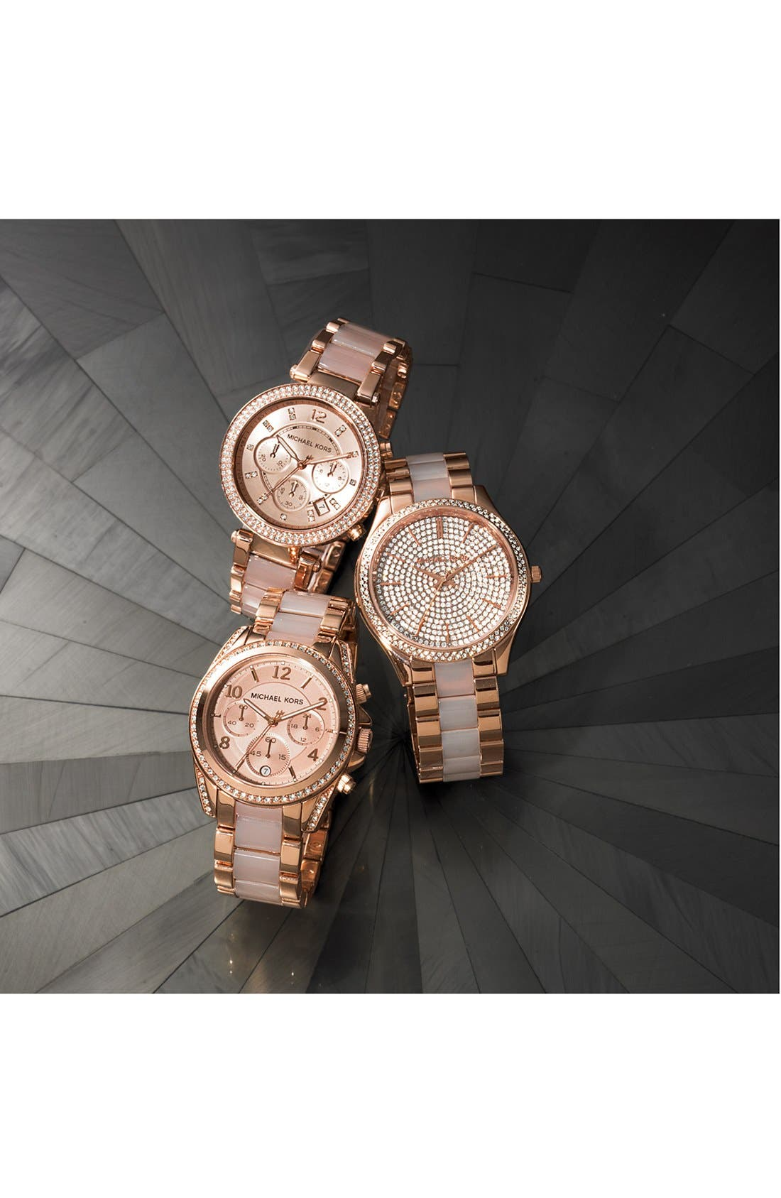MICHAEL KORS,                             'Blair' Crystal Bezel Two-Tone Bracelet Watch, 39mm,                             Alternate thumbnail 3, color,                             040