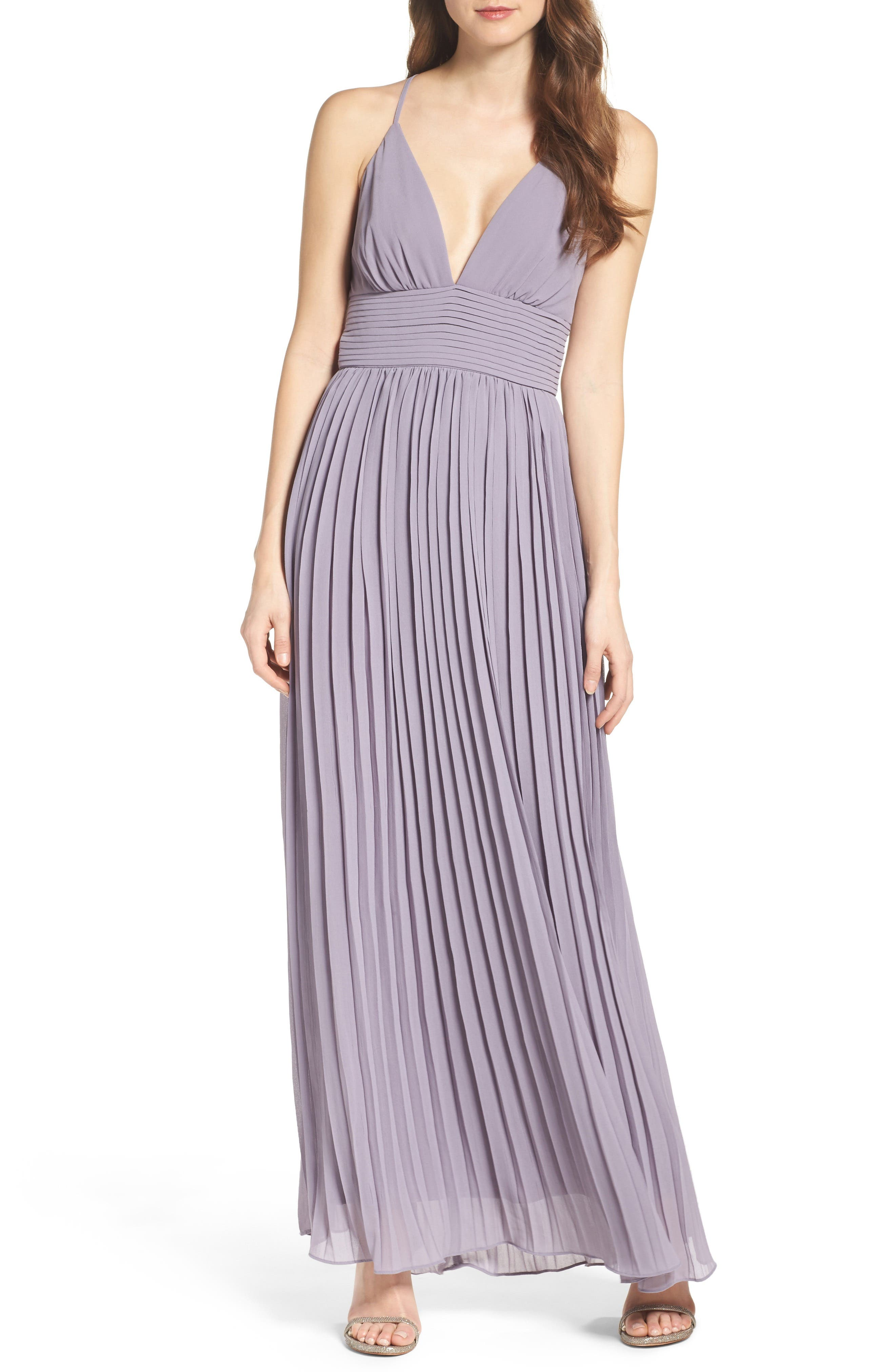 Plunging V-Neck Pleat Georgette Gown,                             Main thumbnail 6, color,
