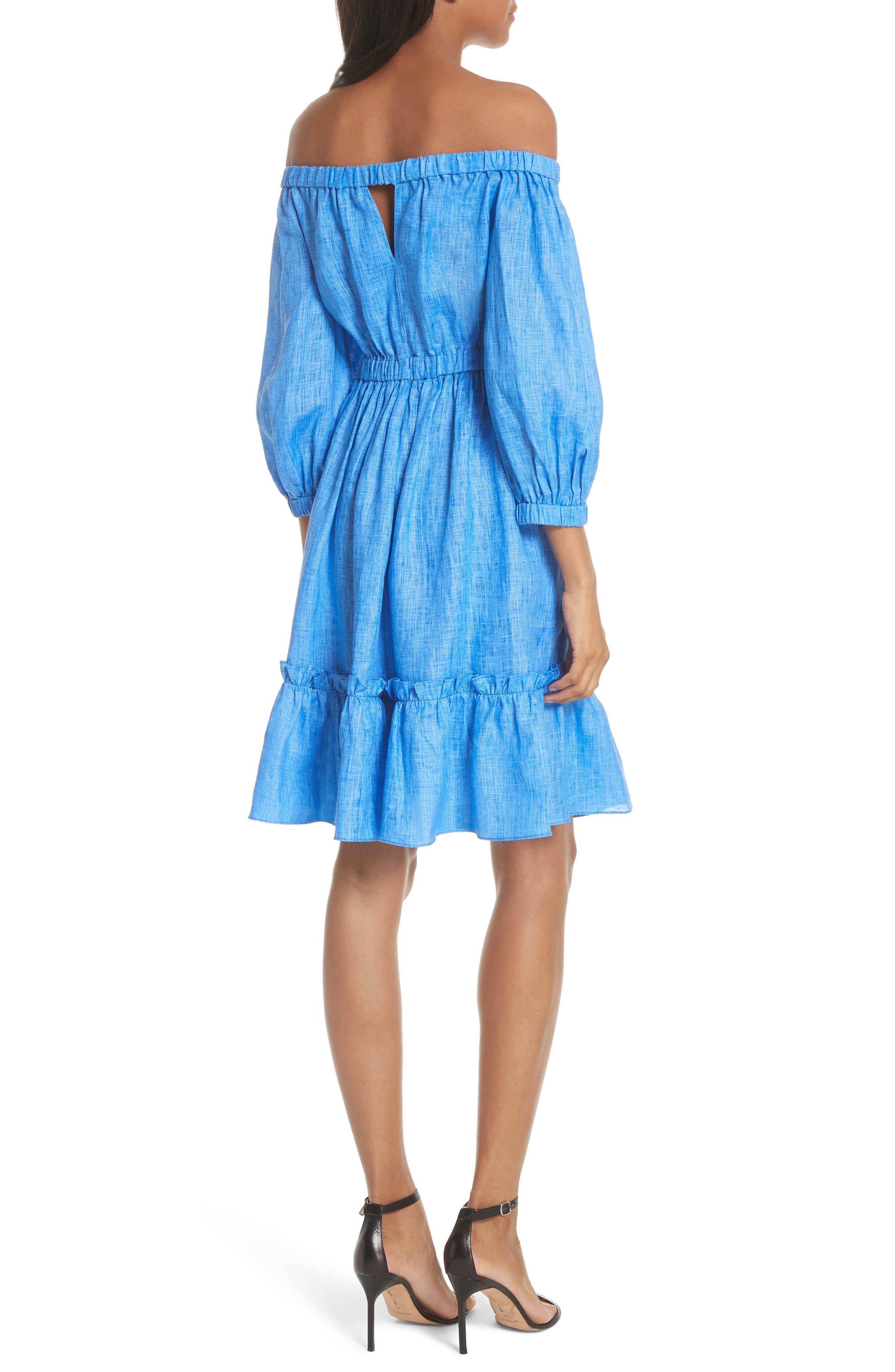 Amanda Off the Shoulder Italian Linen Dress,                             Alternate thumbnail 2, color,                             COBALT