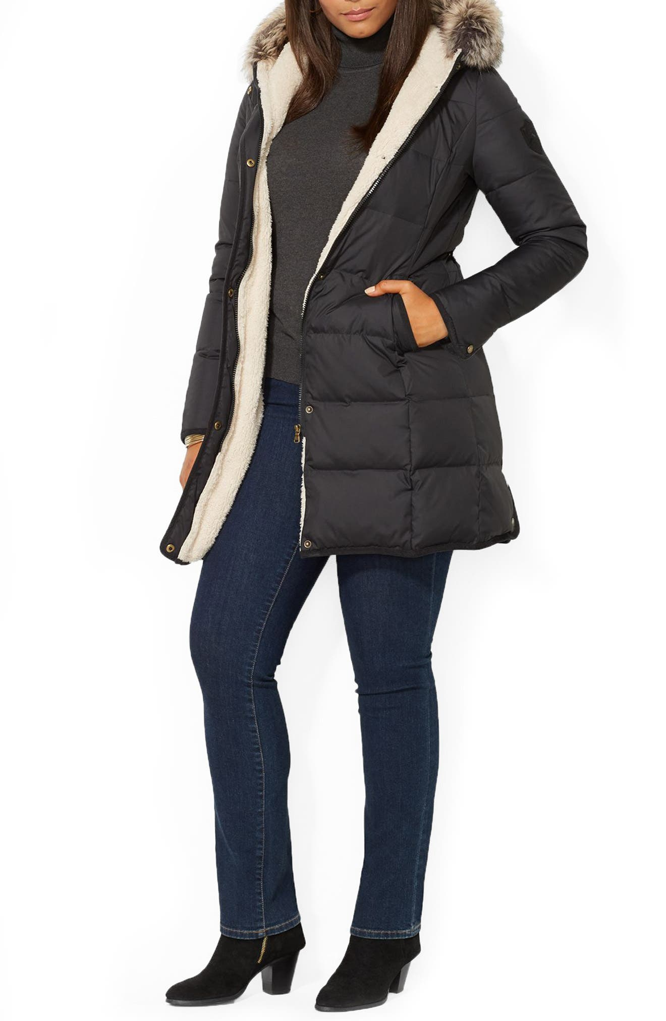 Quilted Parka with Faux Fur Trim,                         Main,                         color, 001