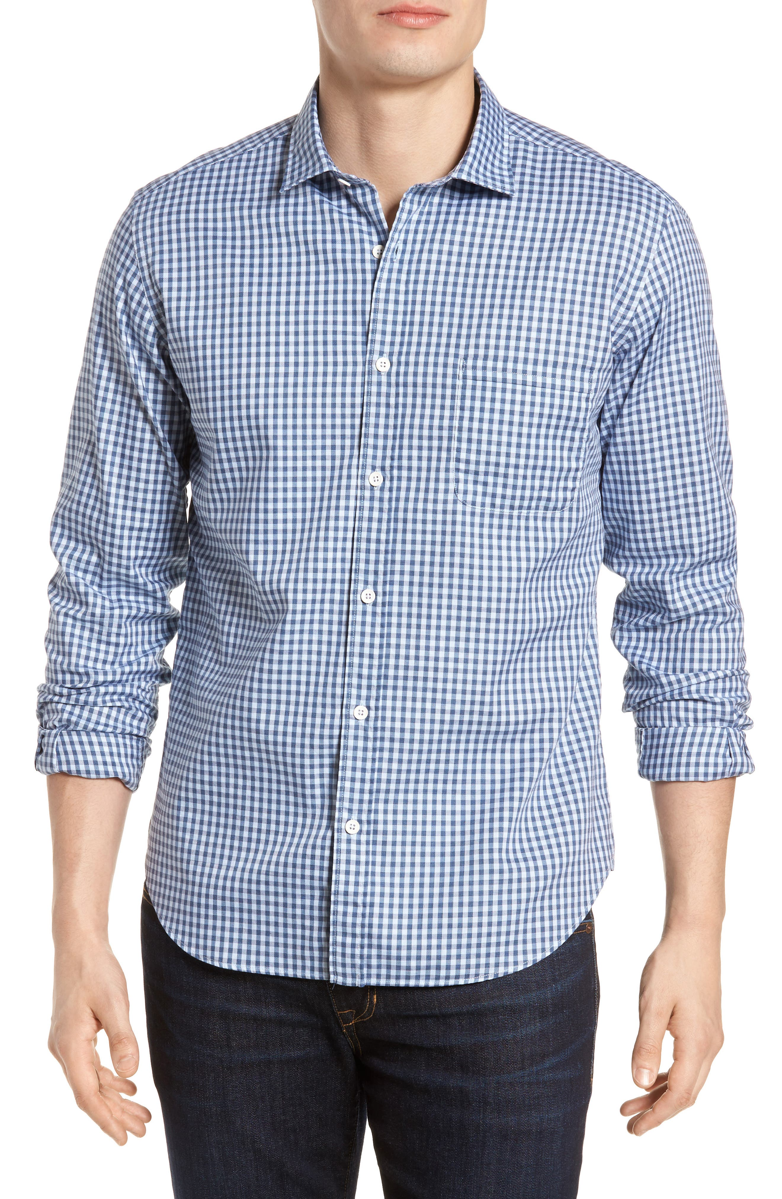 Tailored Fit Gingham Sport Shirt,                         Main,                         color, 400