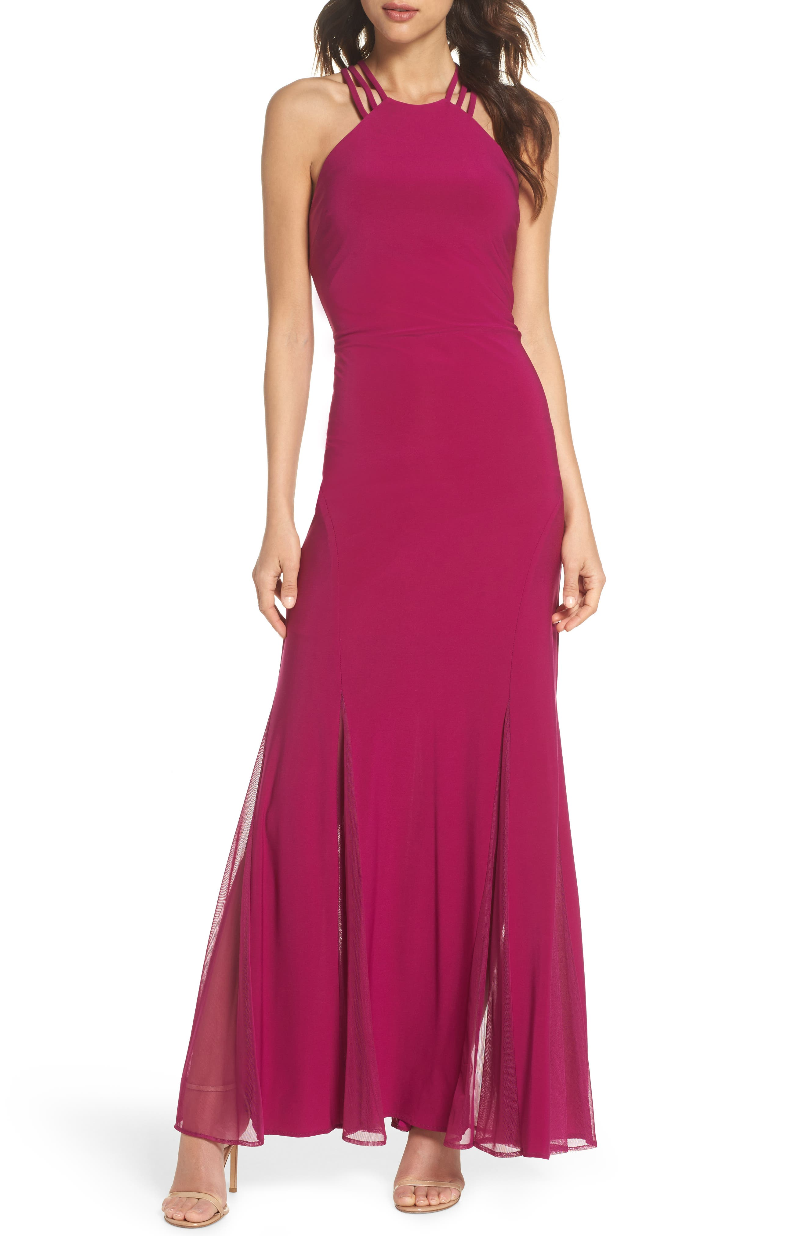 Strappy Back Trumpet Gown,                             Main thumbnail 1, color,                             BERRY