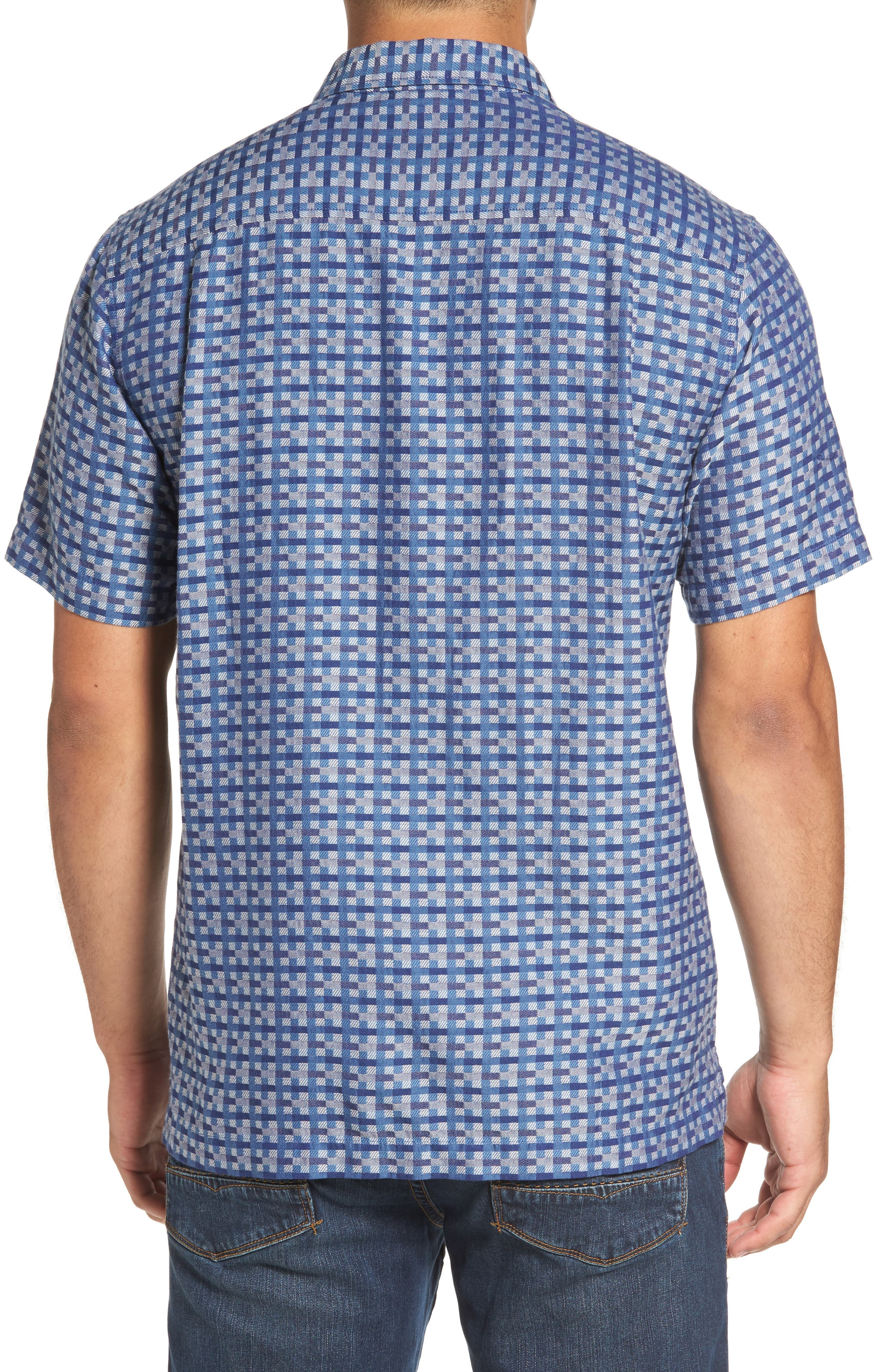 Moroccan Squares Standard Fit Silk Blend Camp Shirt,                             Alternate thumbnail 4, color,