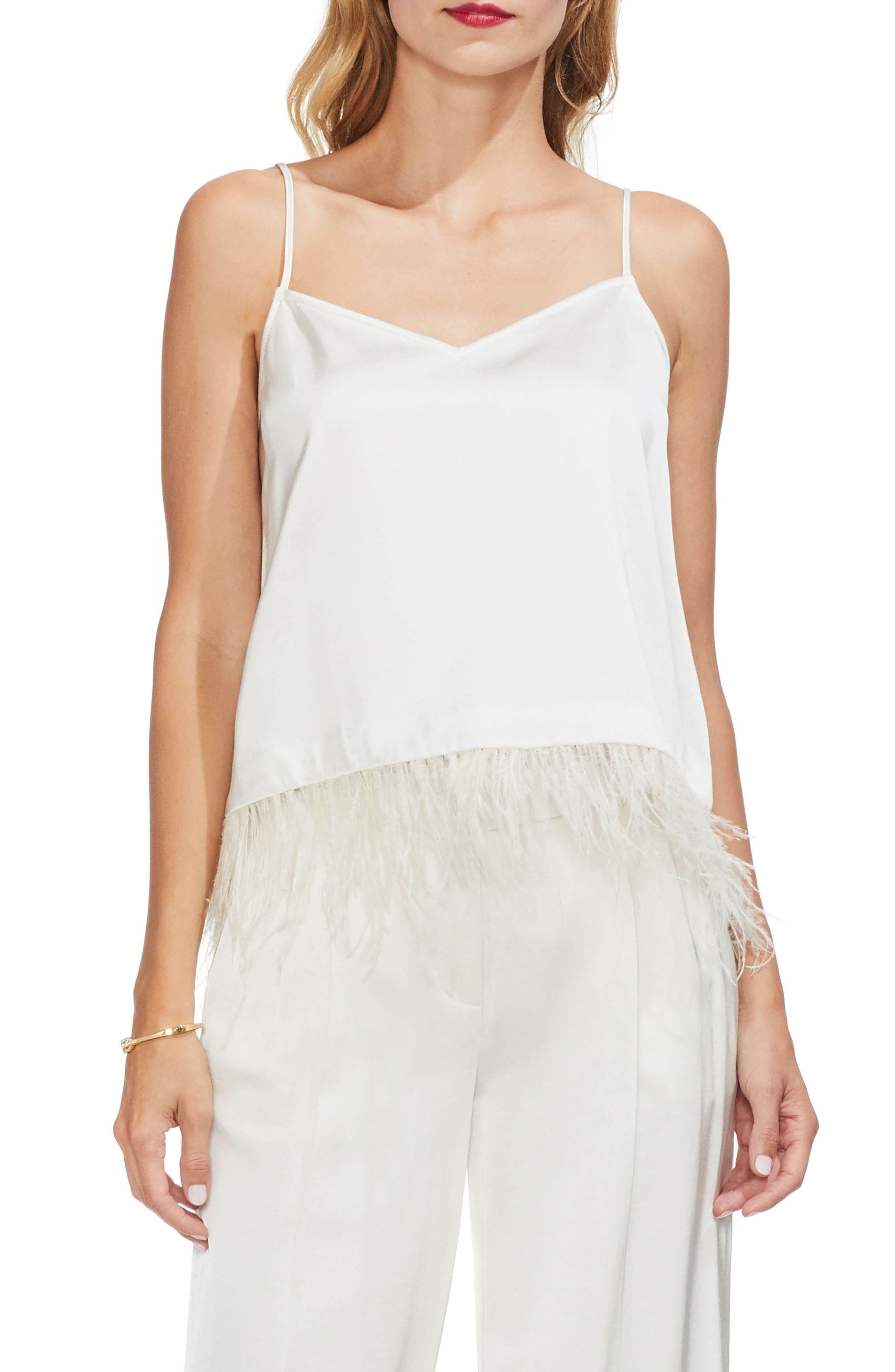 Soft Satin Feather Detail Chiffon Camisole in Pearl Ivory