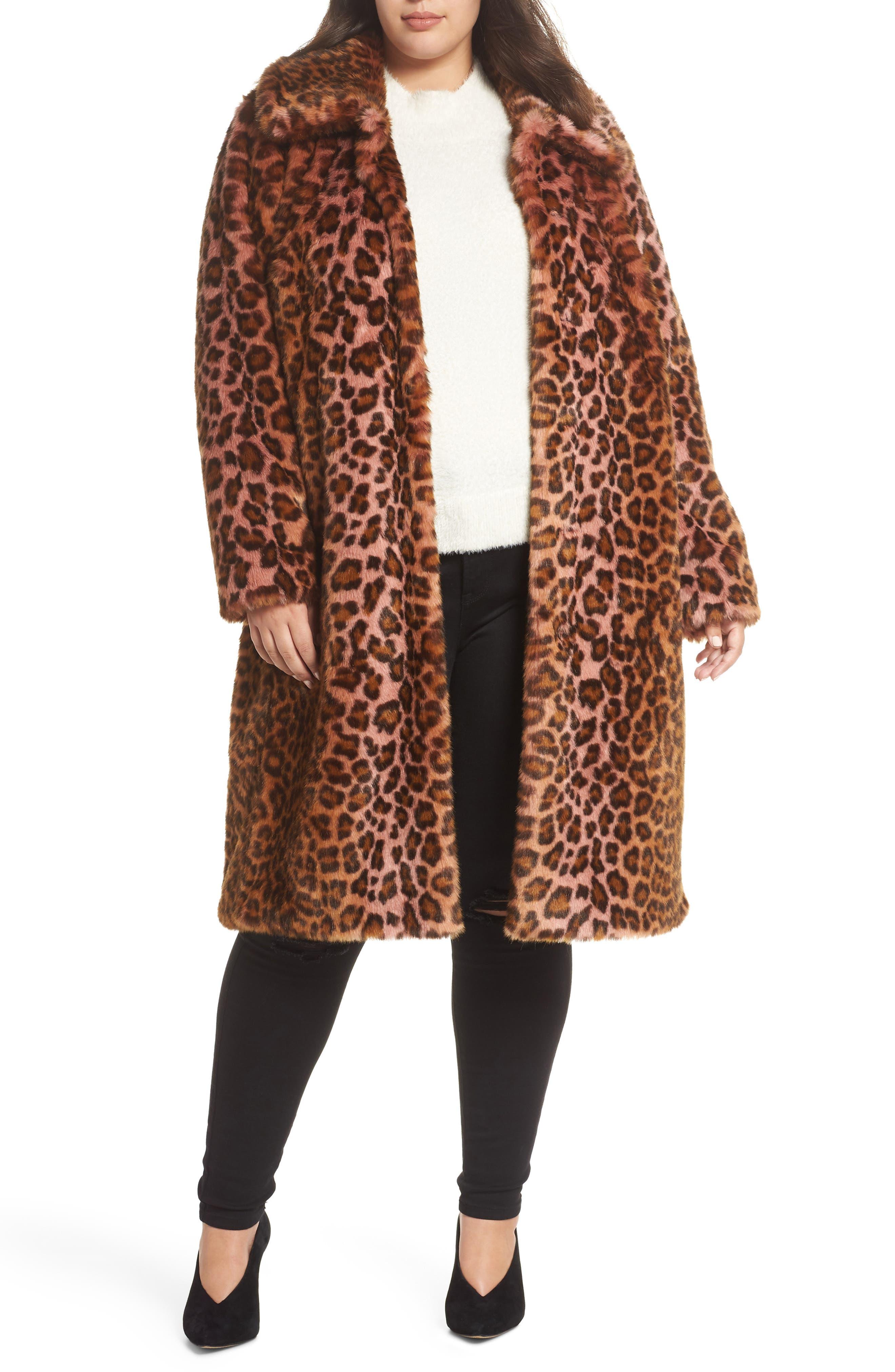 Leopard Print Faux Fur Car Coat,                             Main thumbnail 1, color,                             PINK LEOPARD