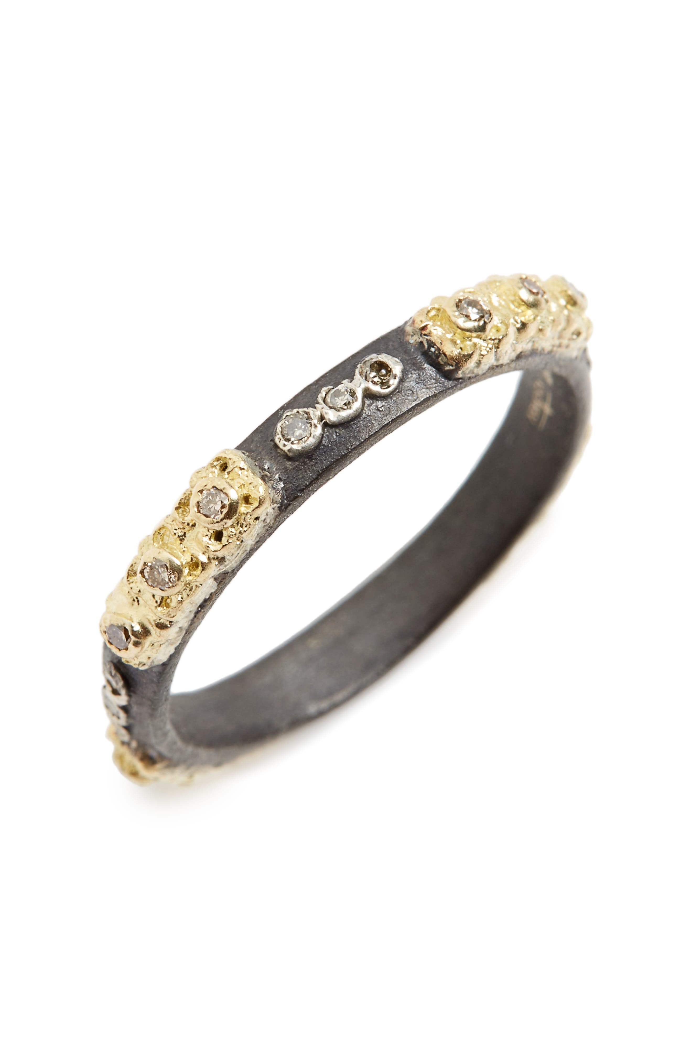 Old World Carved Diamond Stack Ring,                             Main thumbnail 1, color,                             GOLD