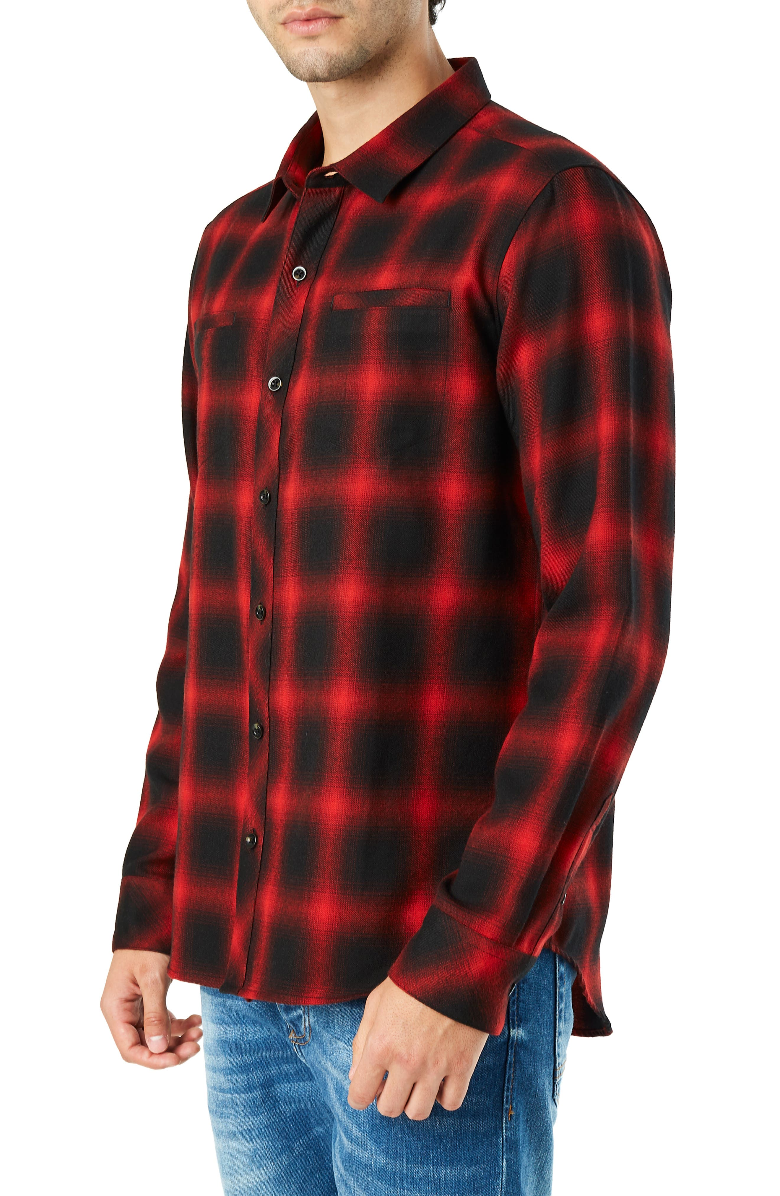 Falcon Slim Fit Check Sport Shirt,                             Alternate thumbnail 4, color,                             RED
