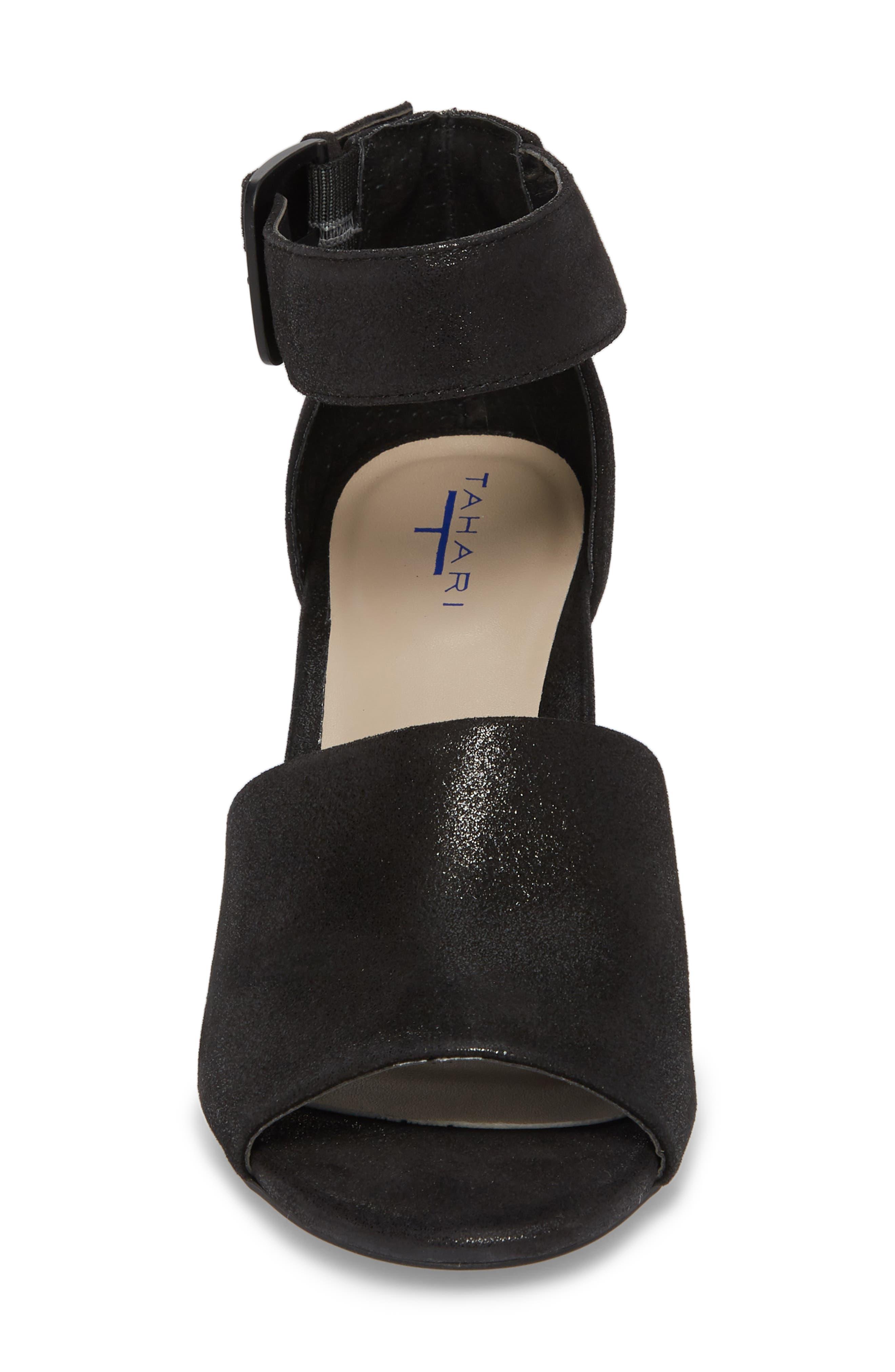 Piper Sandal,                             Alternate thumbnail 4, color,                             BLACK SUEDE
