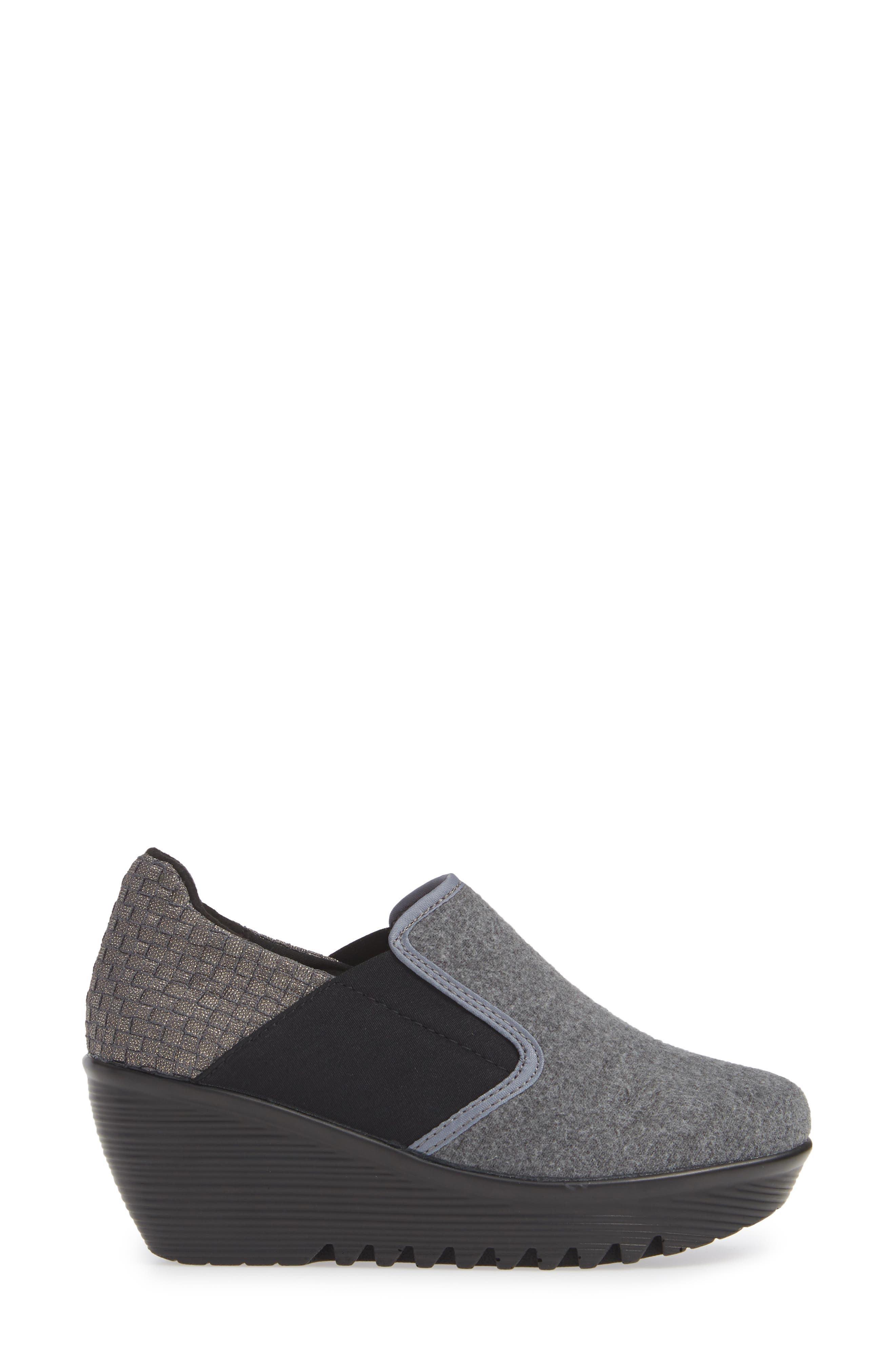 Bari Wedge,                             Alternate thumbnail 3, color,                             GREY SHIMMER LEATHER
