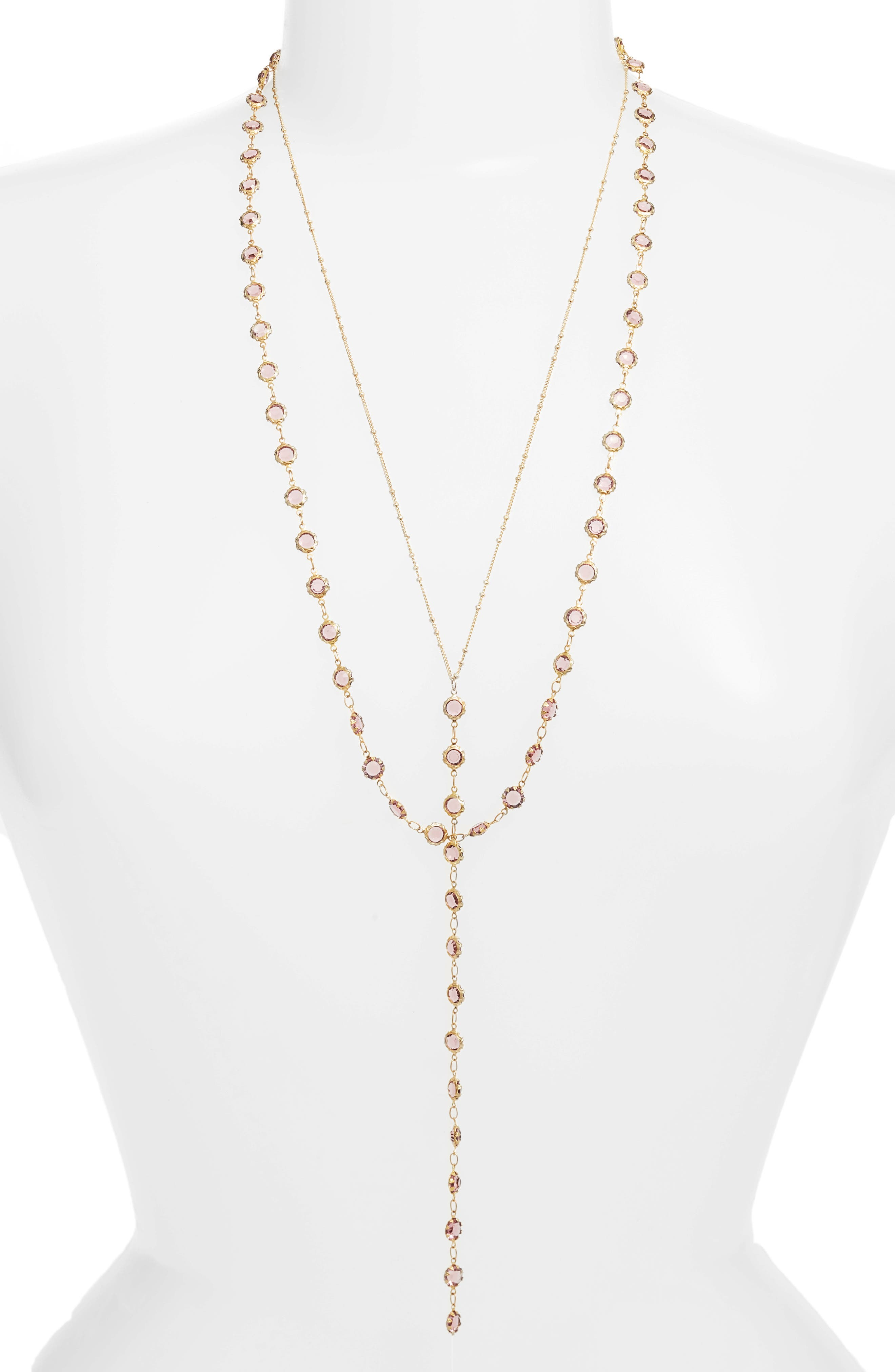 Layered Y-Necklace,                         Main,                         color, 710