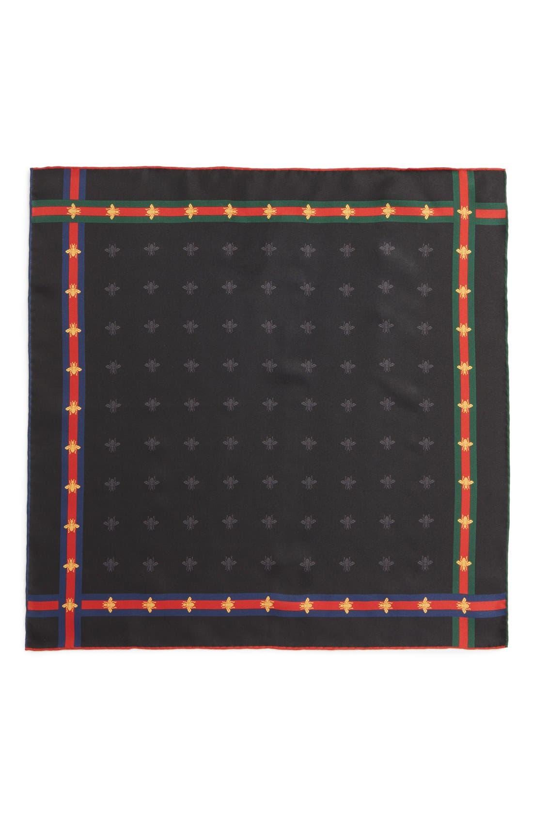Runebis Silk Twill Pocket Square,                             Alternate thumbnail 4, color,                             003
