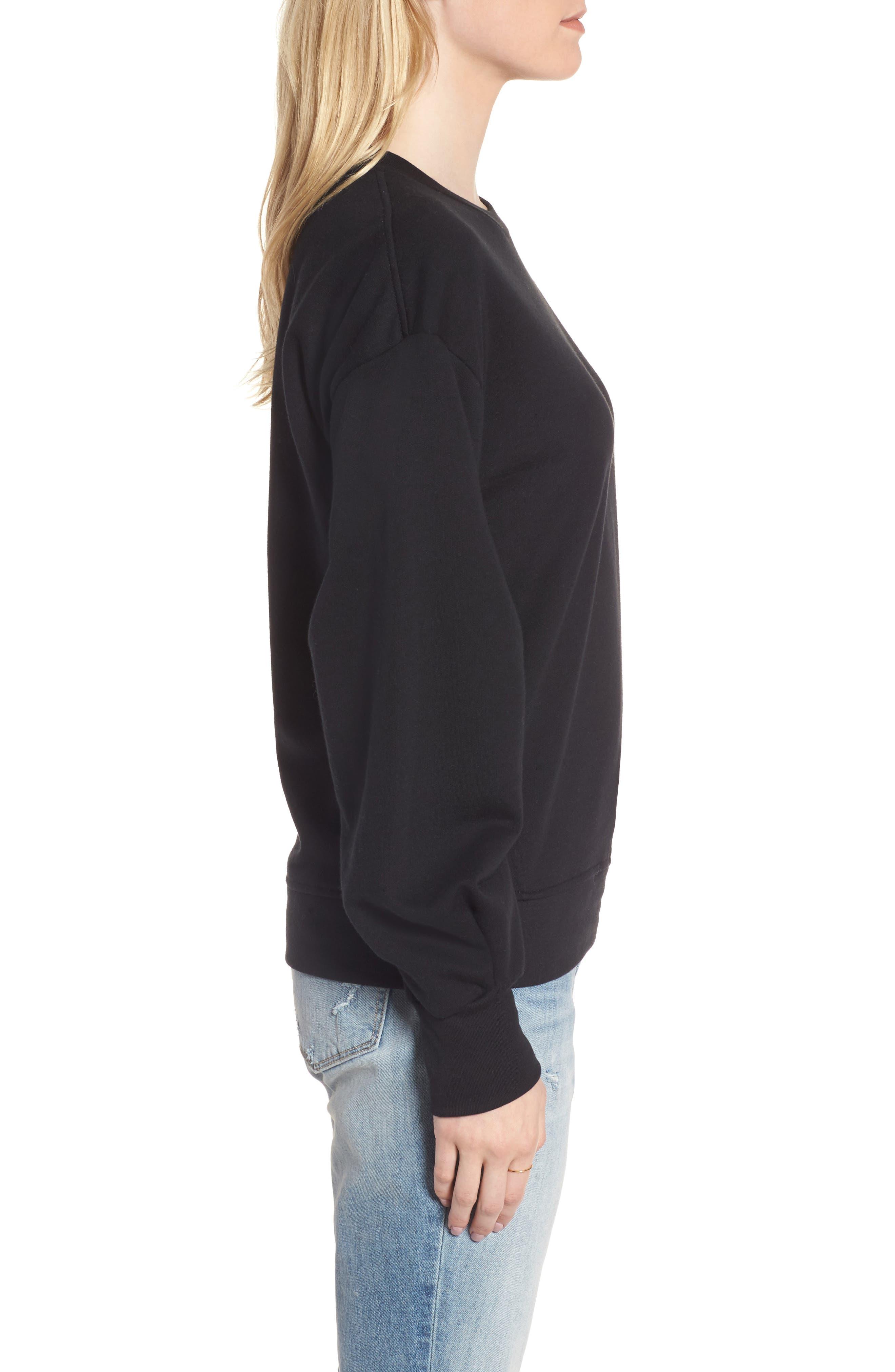 Pleated Sleeve Sweatshirt,                             Alternate thumbnail 3, color,                             001
