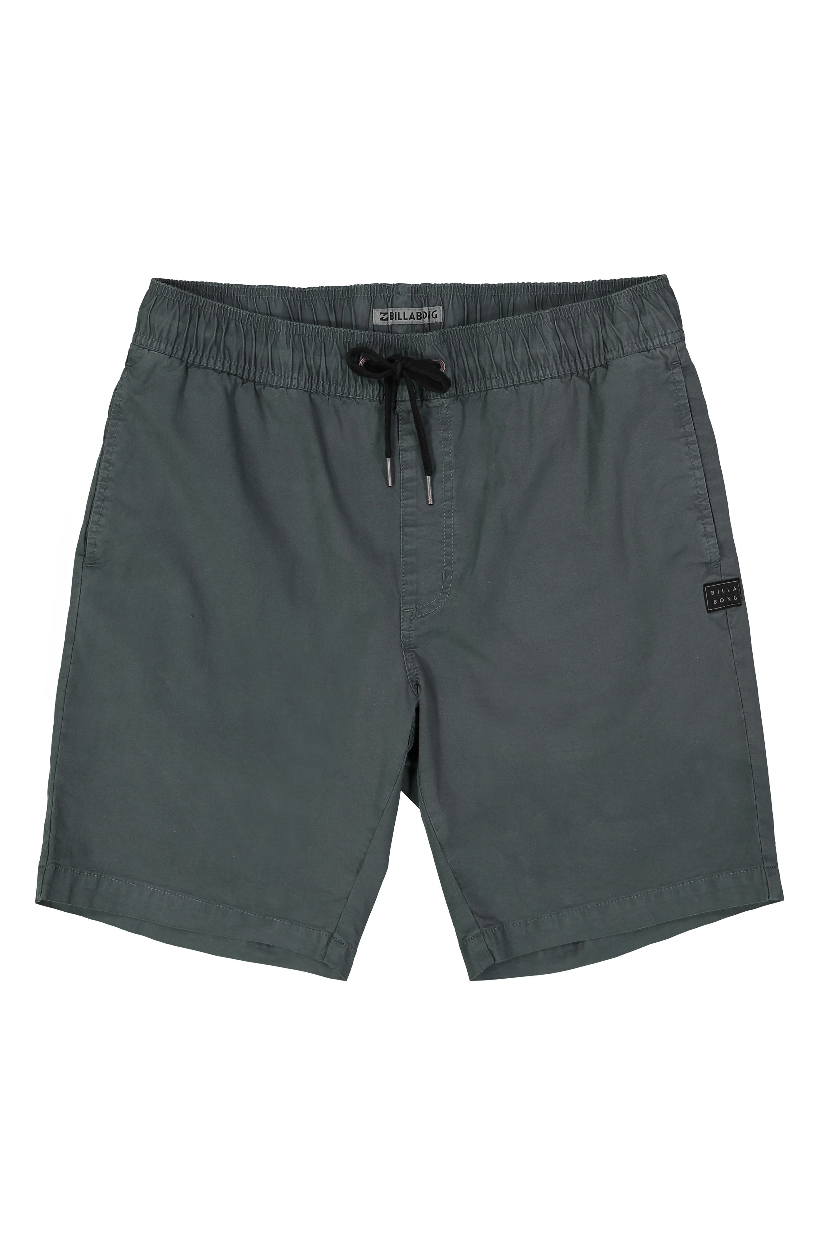 BILLABONG Larry Layback Stretch Cotton Shorts, Main, color, WASHED SLATE