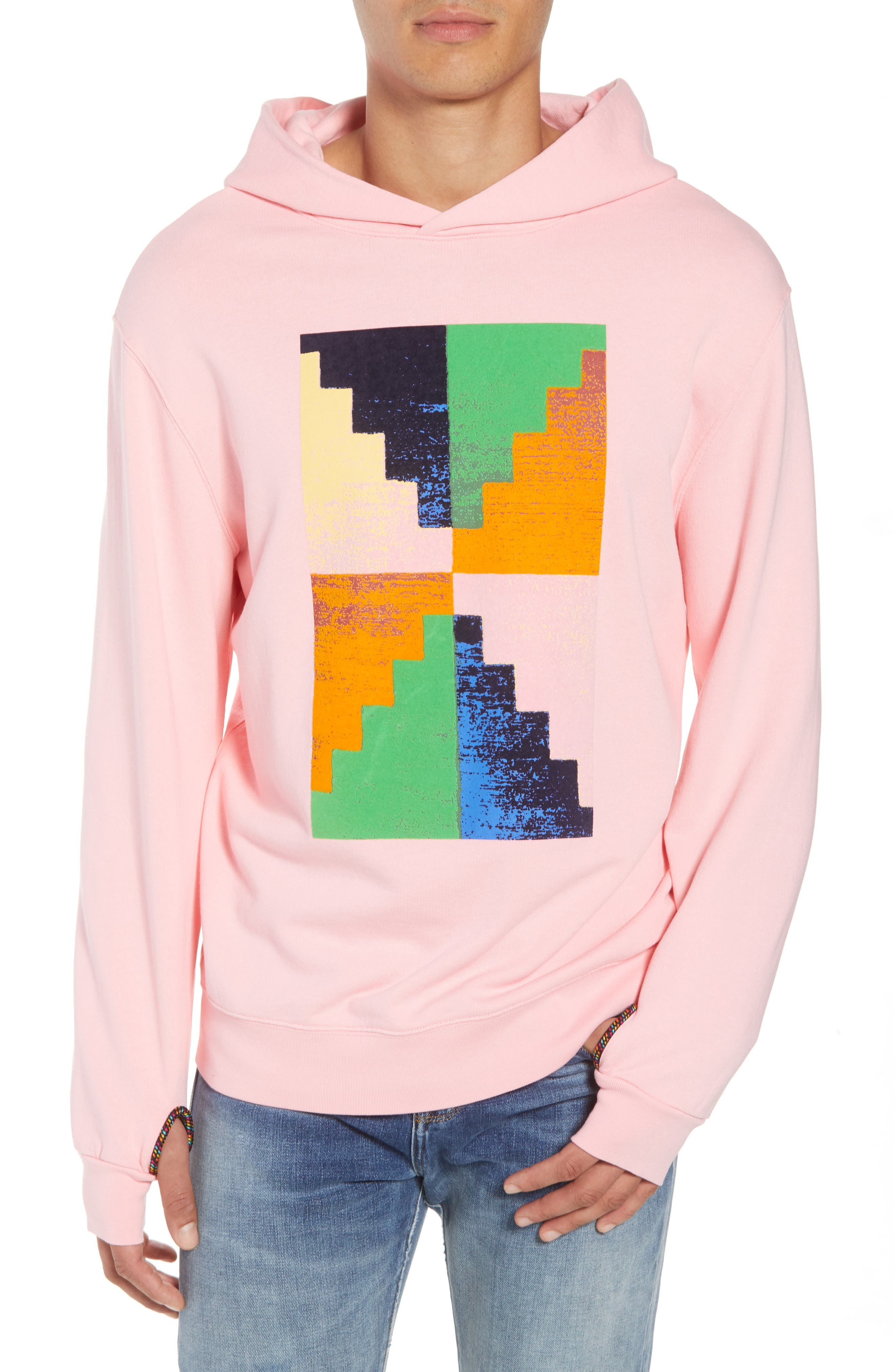 Pyramid Classic Fit Hoodie,                         Main,                         color, CANDY PINK