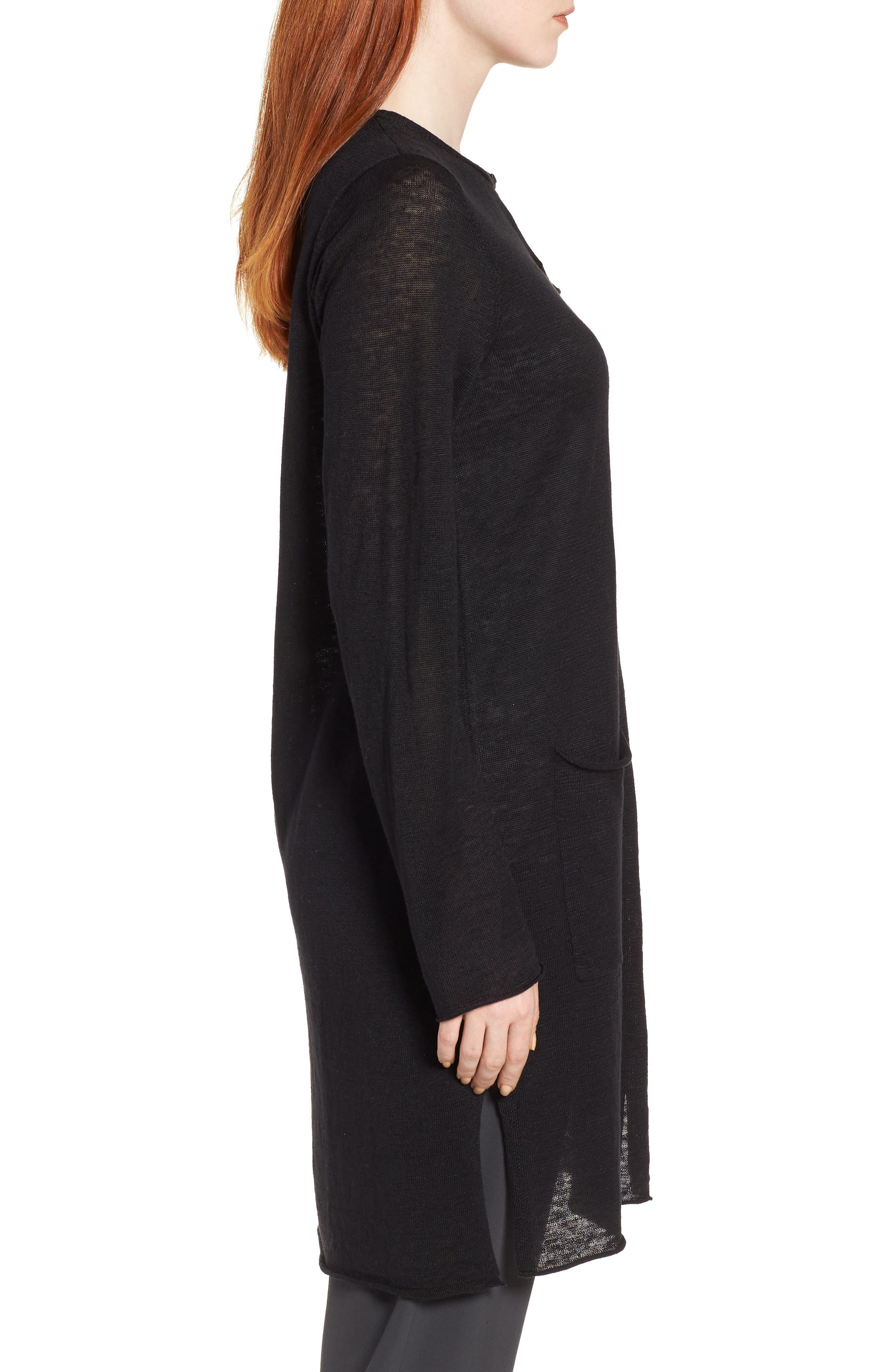 Long Organic Linen Cardigan,                             Alternate thumbnail 3, color,                             001