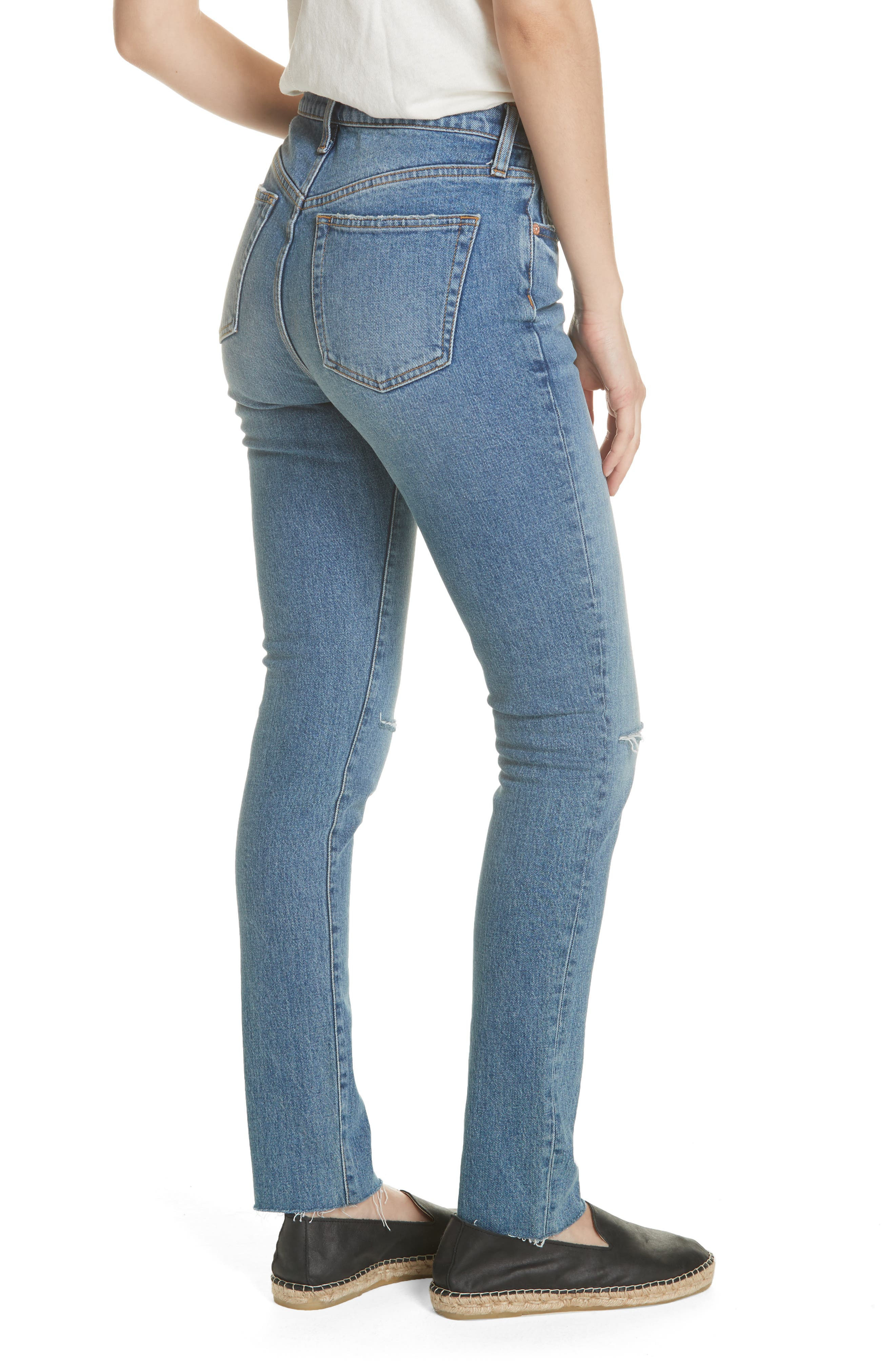 We the Free by Free People Stella High Waist Raw Hem Skinny Jeans,                             Alternate thumbnail 2, color,                             BLUE