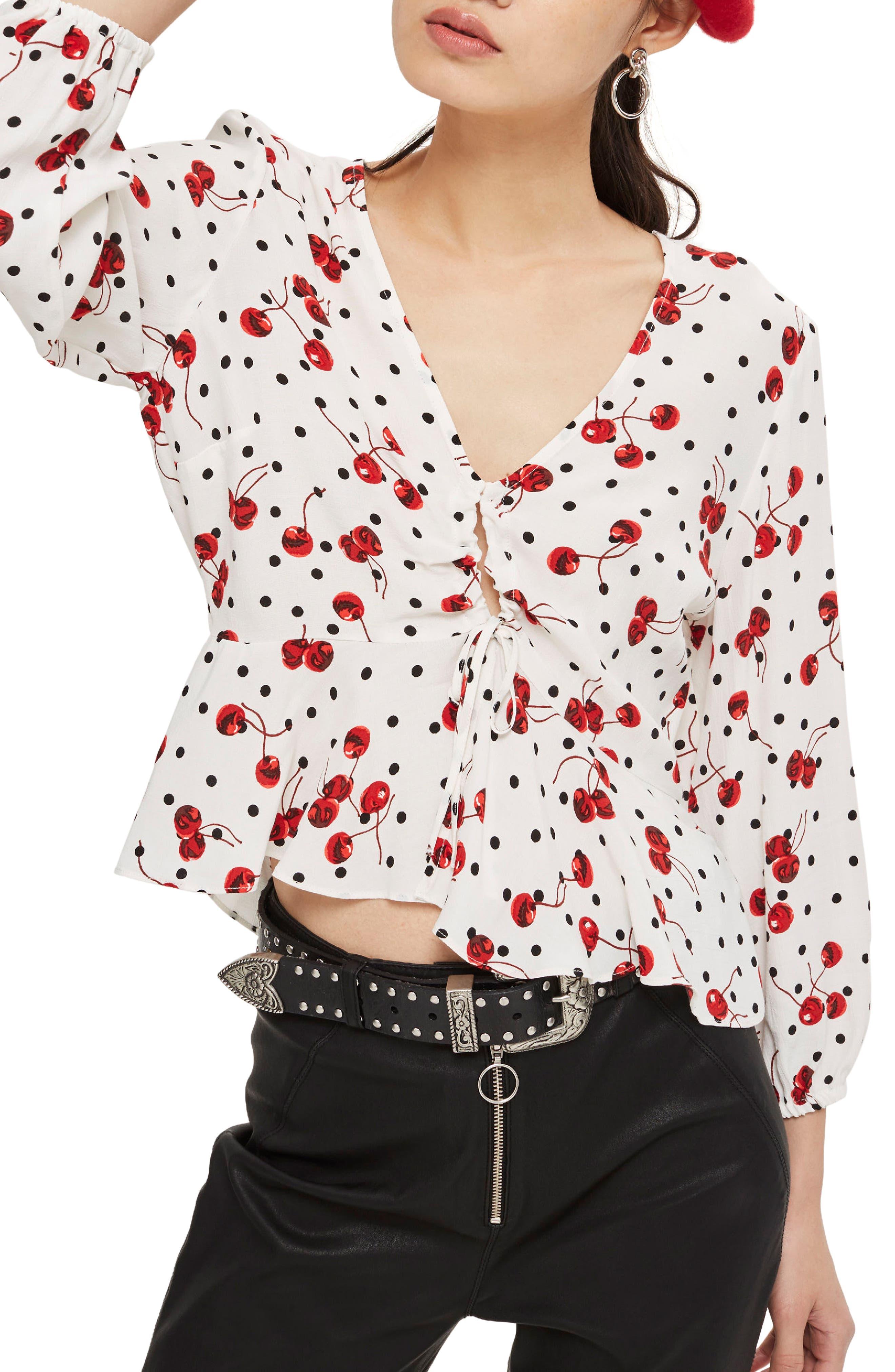 TOPSHOP Cherry Spot Print Blouse, Main, color, 900