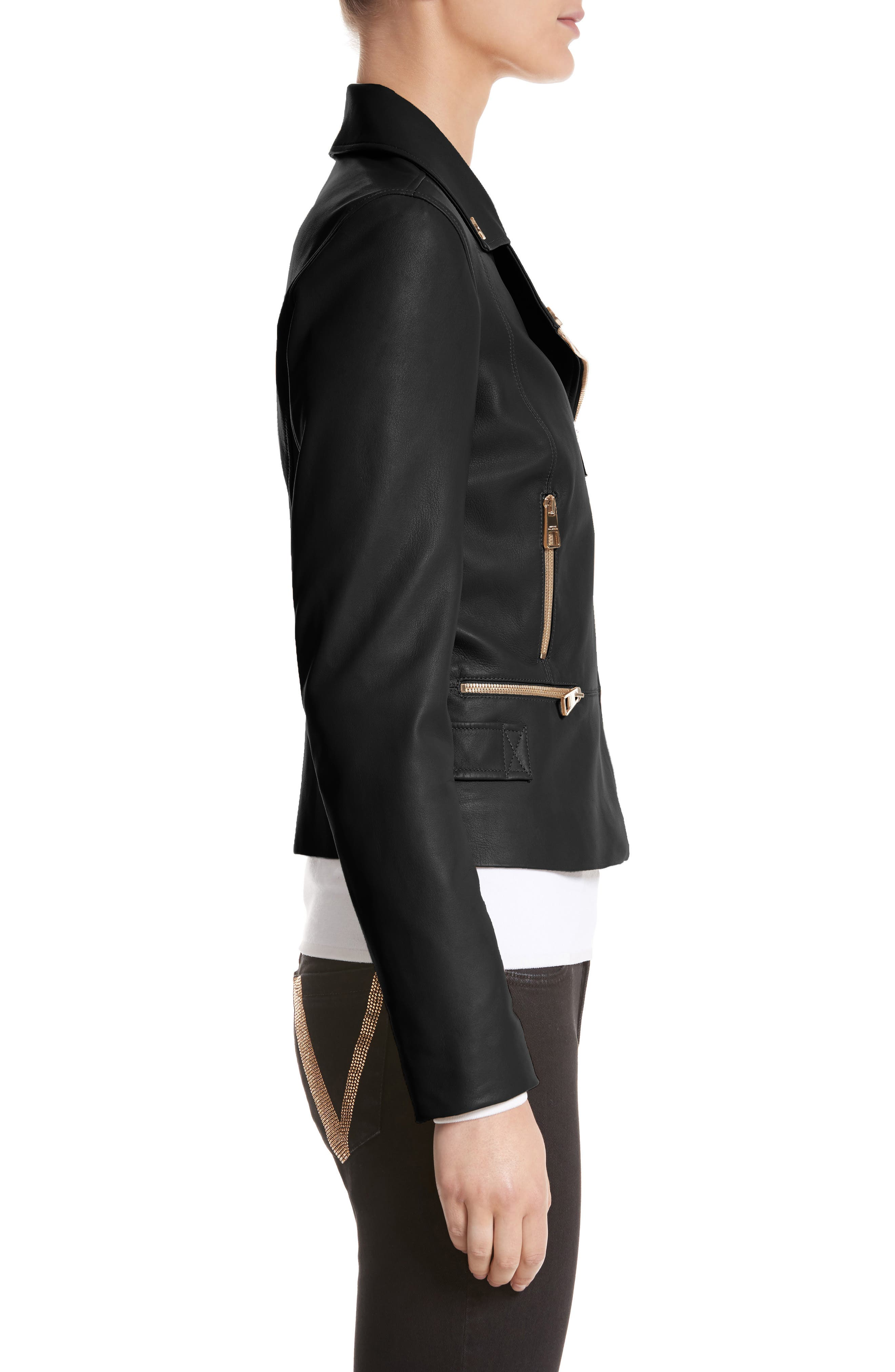 Nappa Leather Jacket,                             Alternate thumbnail 3, color,                             001