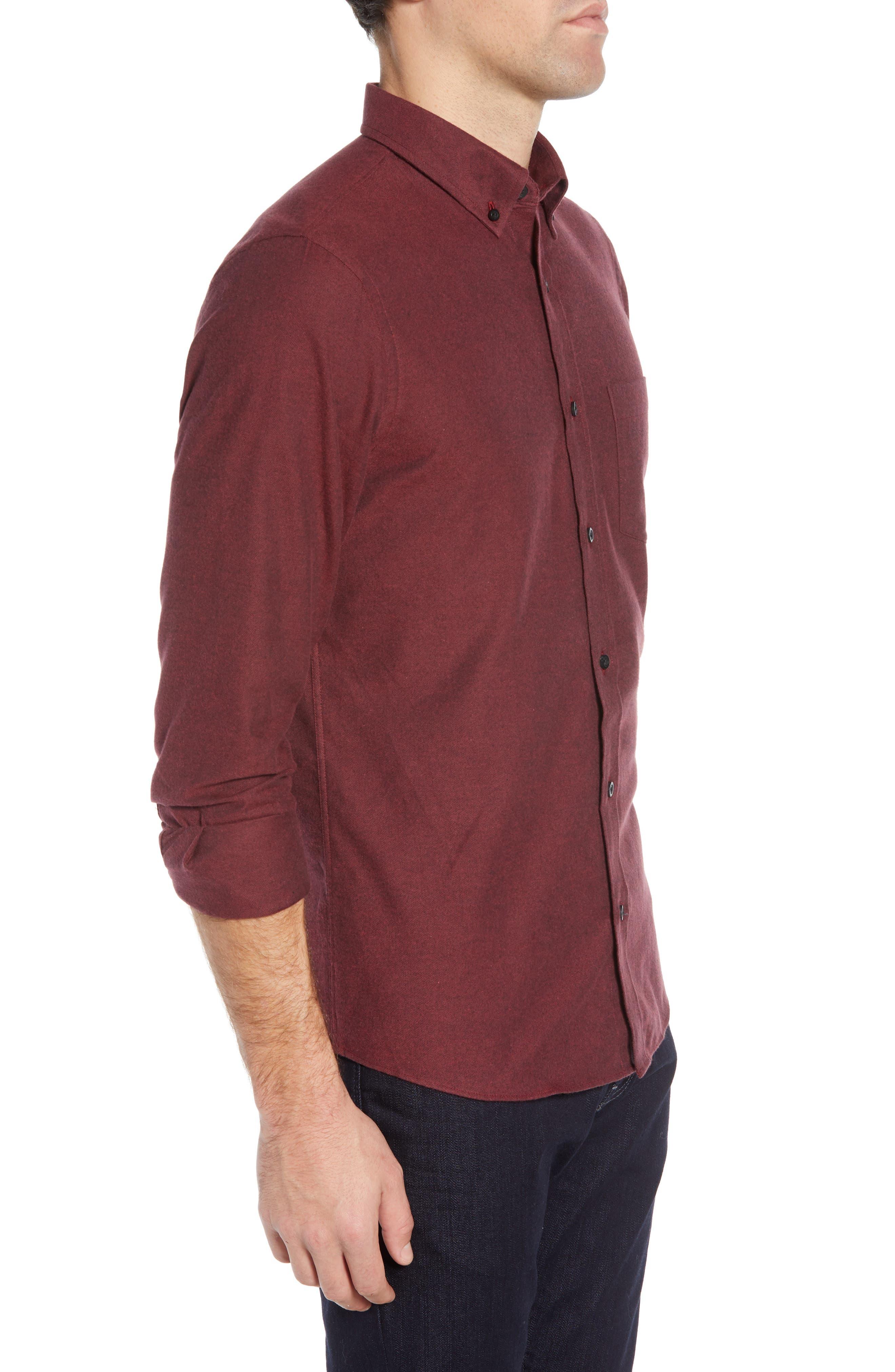 NORDSTROM MEN'S SHOP,                             Slim Fit Brushed Twill Sport Shirt,                             Alternate thumbnail 4, color,                             RED JESTER BRUSHED TWILL