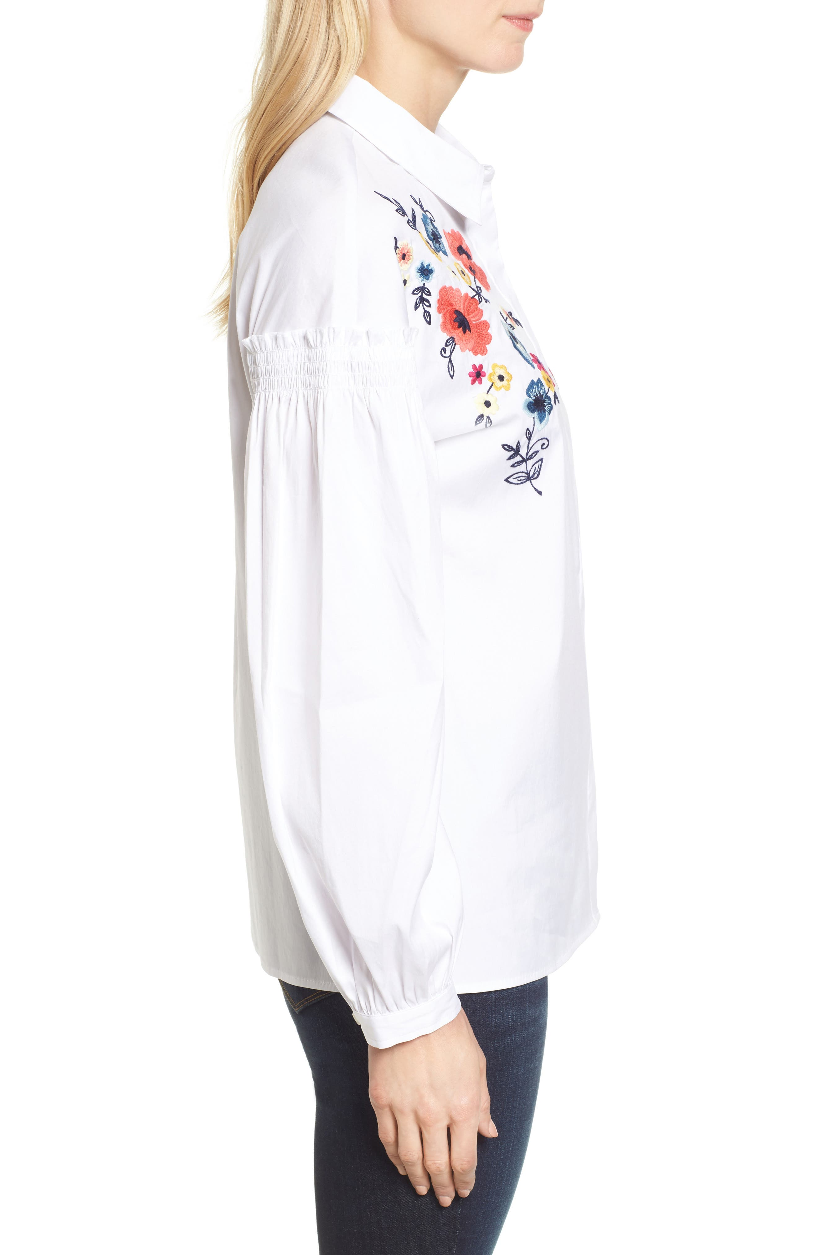 Embroidered Button Down Shirt,                             Alternate thumbnail 3, color,                             100
