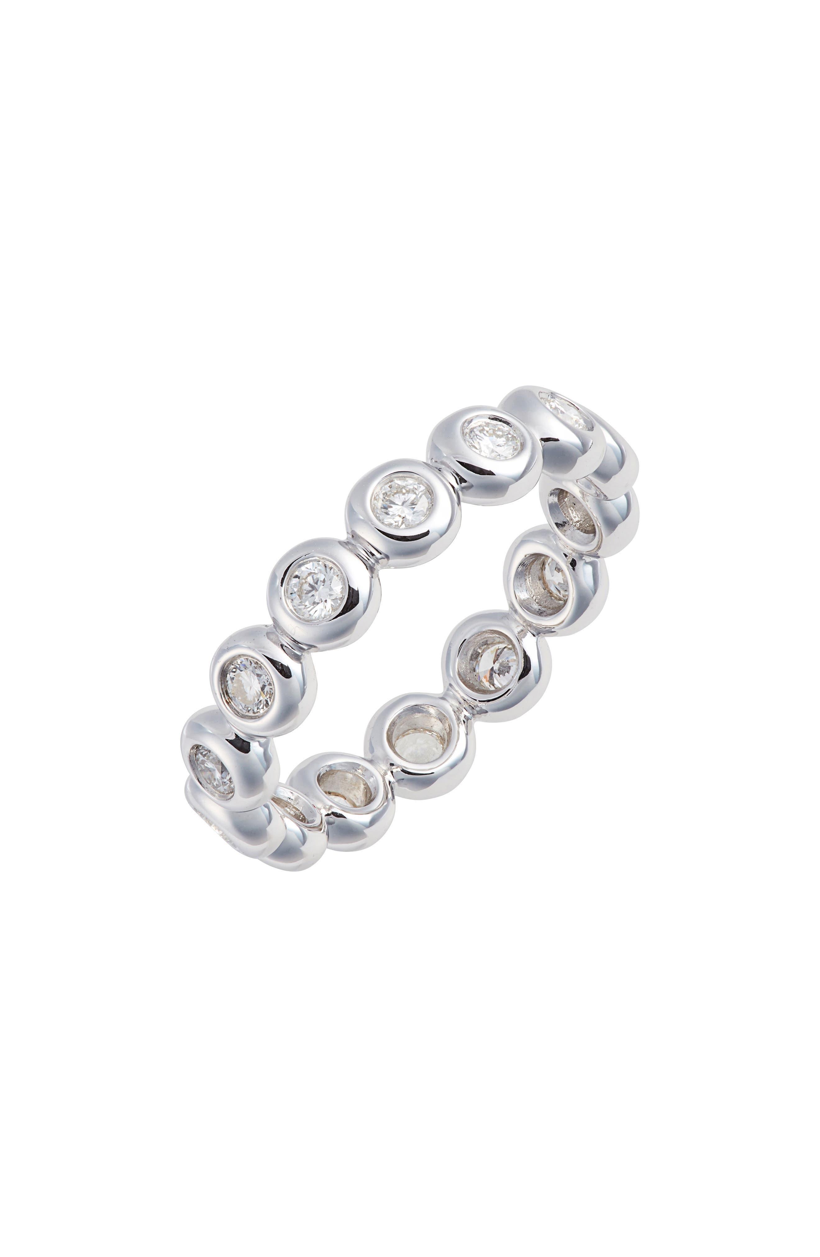 Monaco Bezel Diamond Stacking Ring,                             Main thumbnail 1, color,                             WHITE GOLD/ DIA