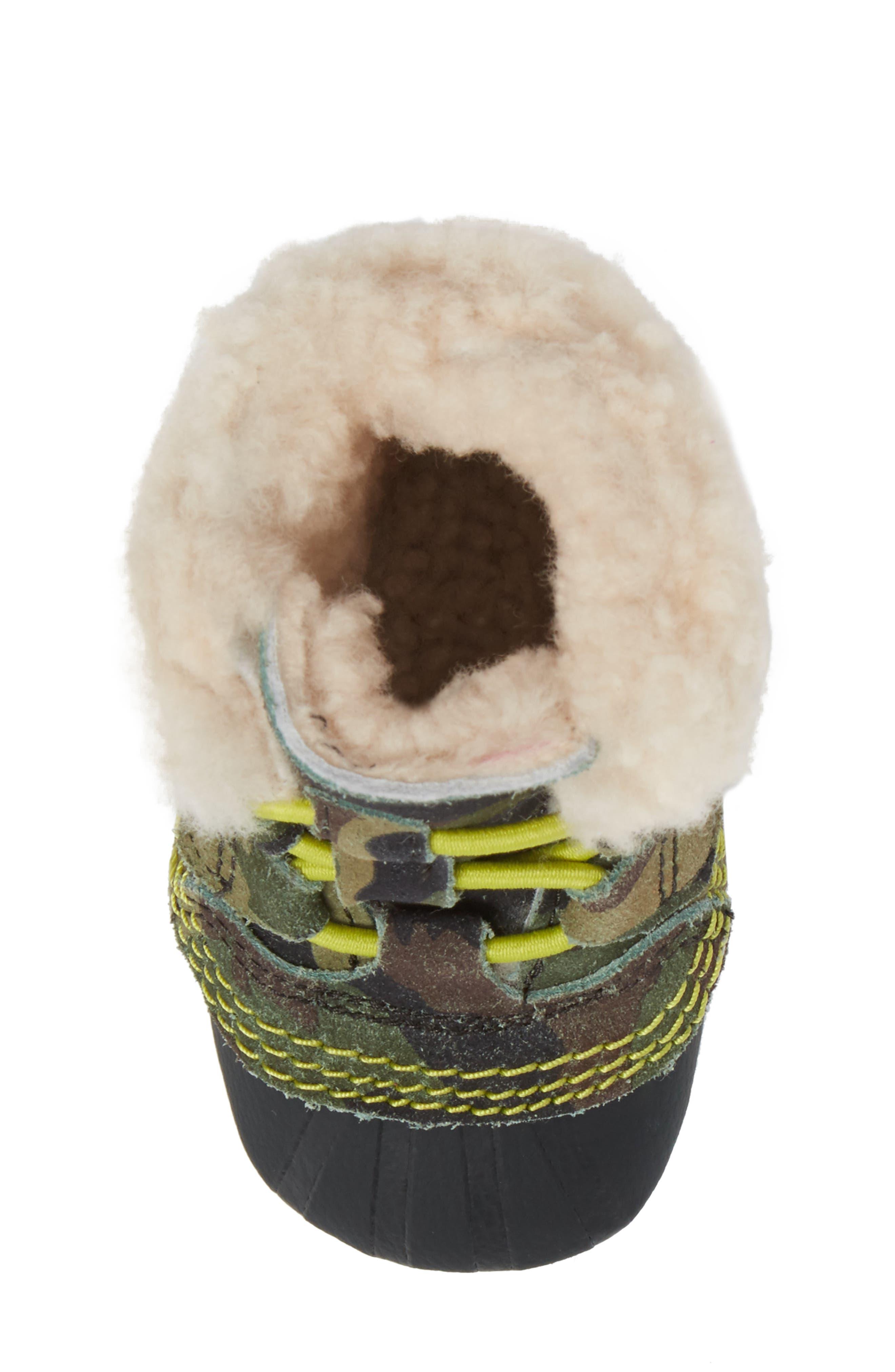 Caribootie Genuine Shearling Crib Shoe,                             Alternate thumbnail 28, color,