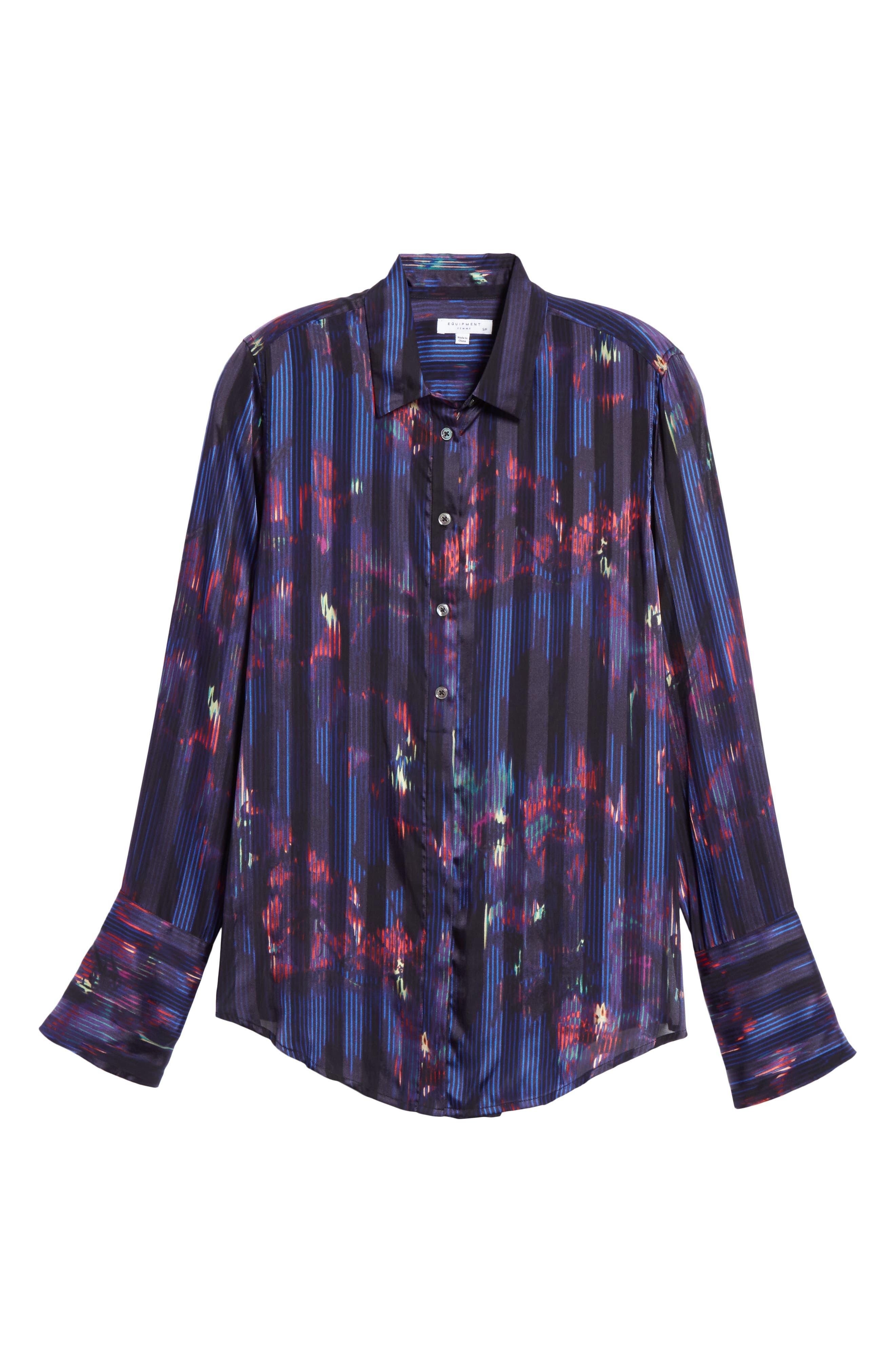Eleonore Print Silk Blend Shirt,                             Alternate thumbnail 6, color,                             ECLIPSE MULTI
