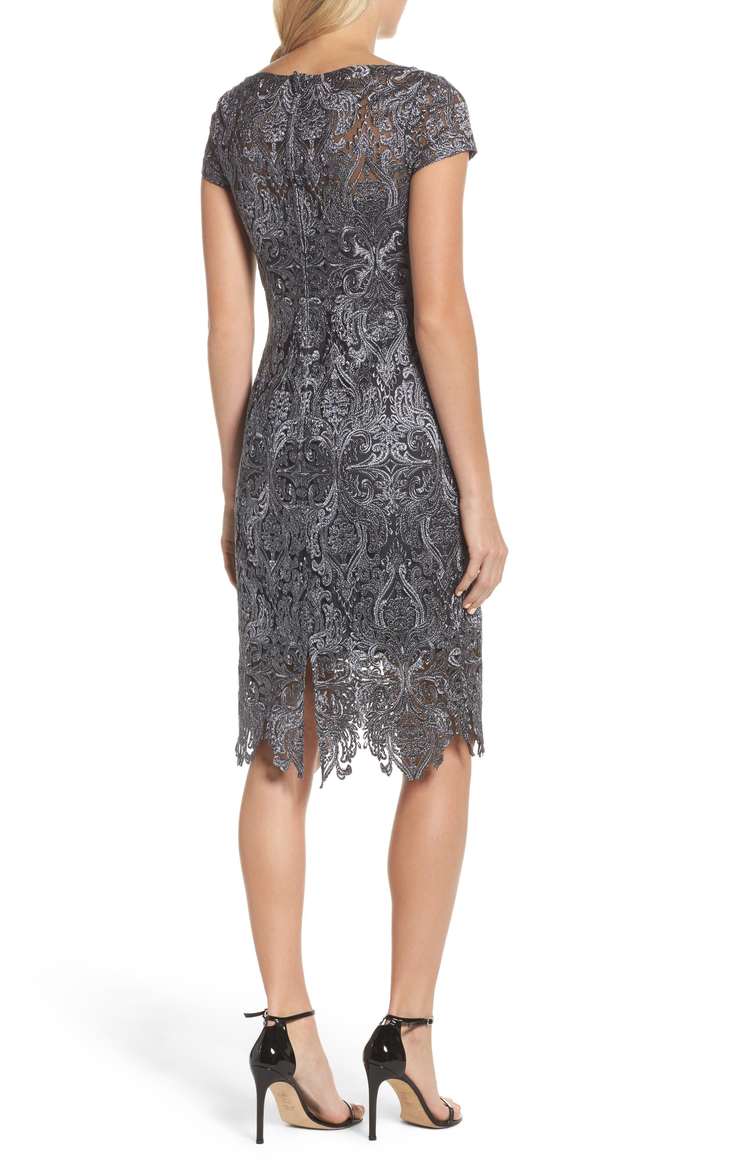 Lace Bateau Neck Dress,                             Alternate thumbnail 2, color,                             GUNMETAL