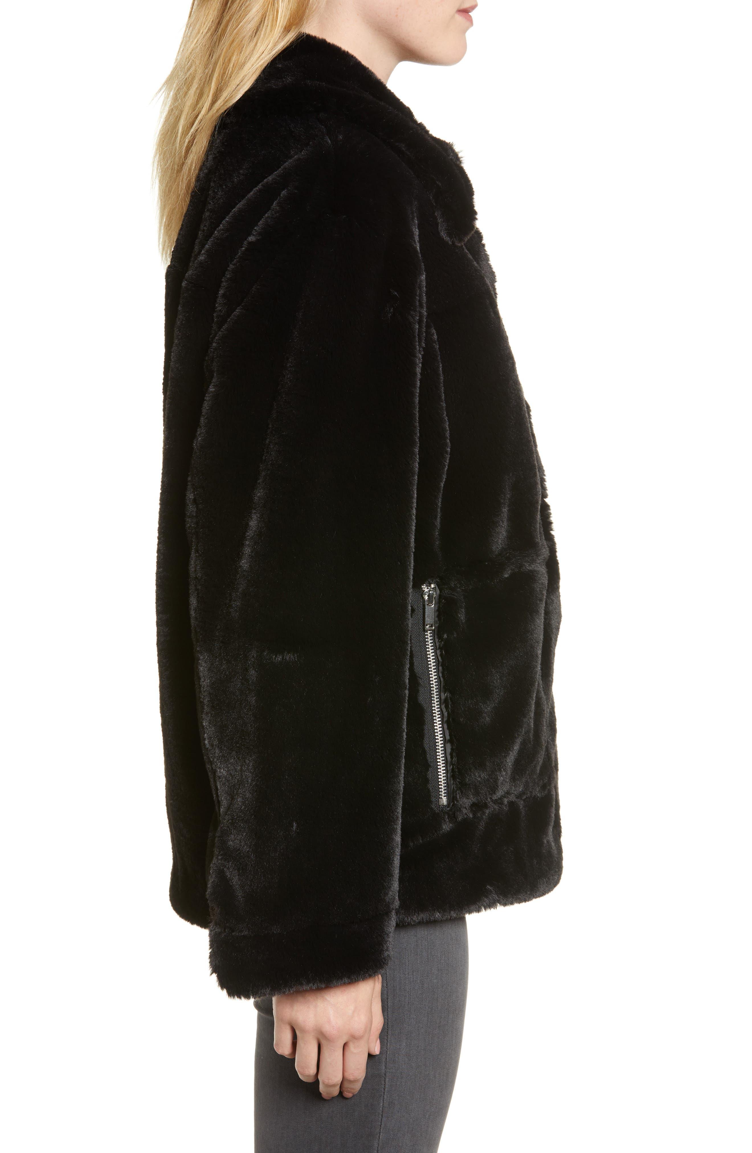 Salma Faux Fur Jacket,                             Alternate thumbnail 3, color,                             BLACK