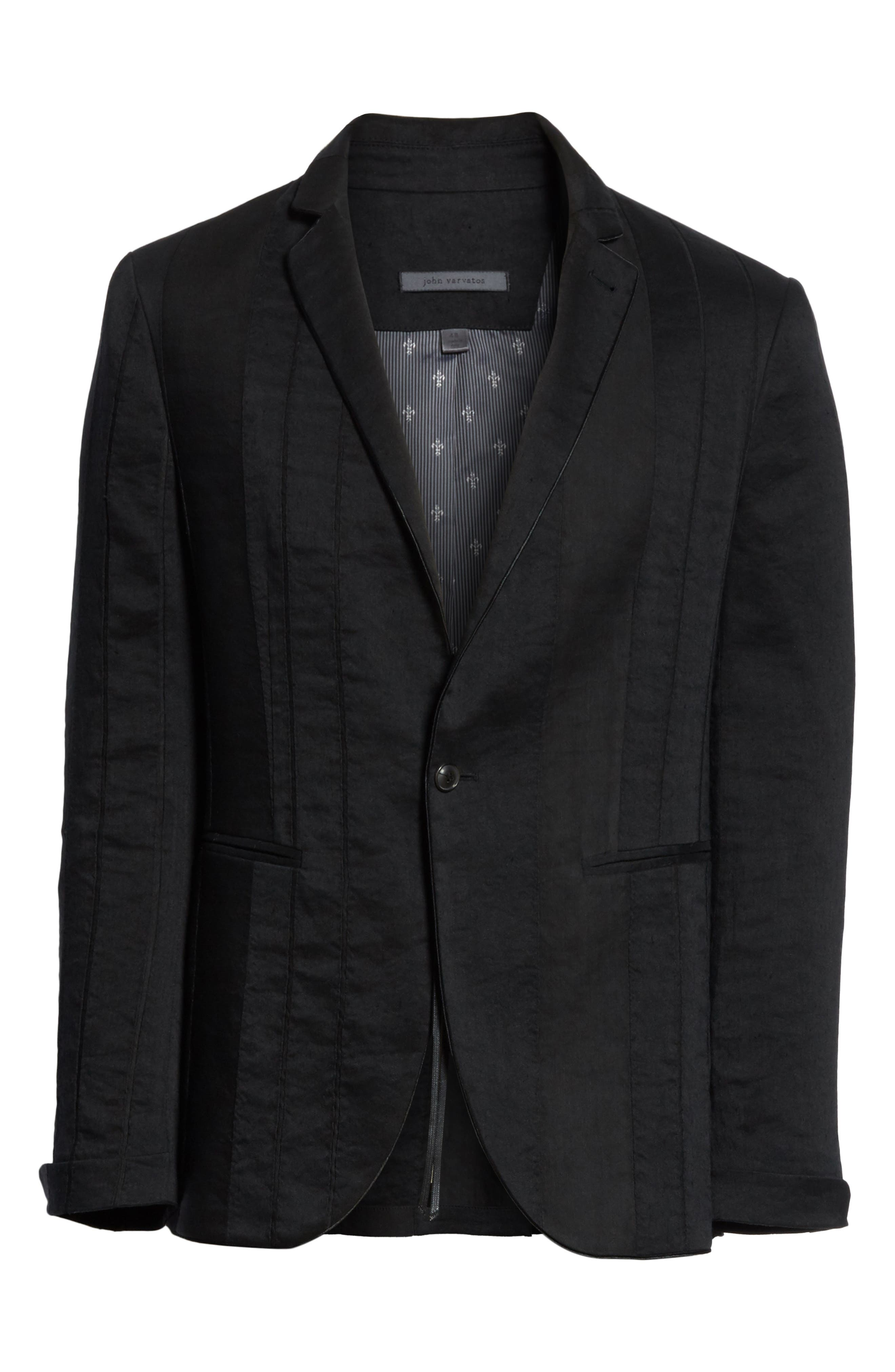 Slim Fit Linen Blend Blazer,                             Alternate thumbnail 5, color,                             BLACK
