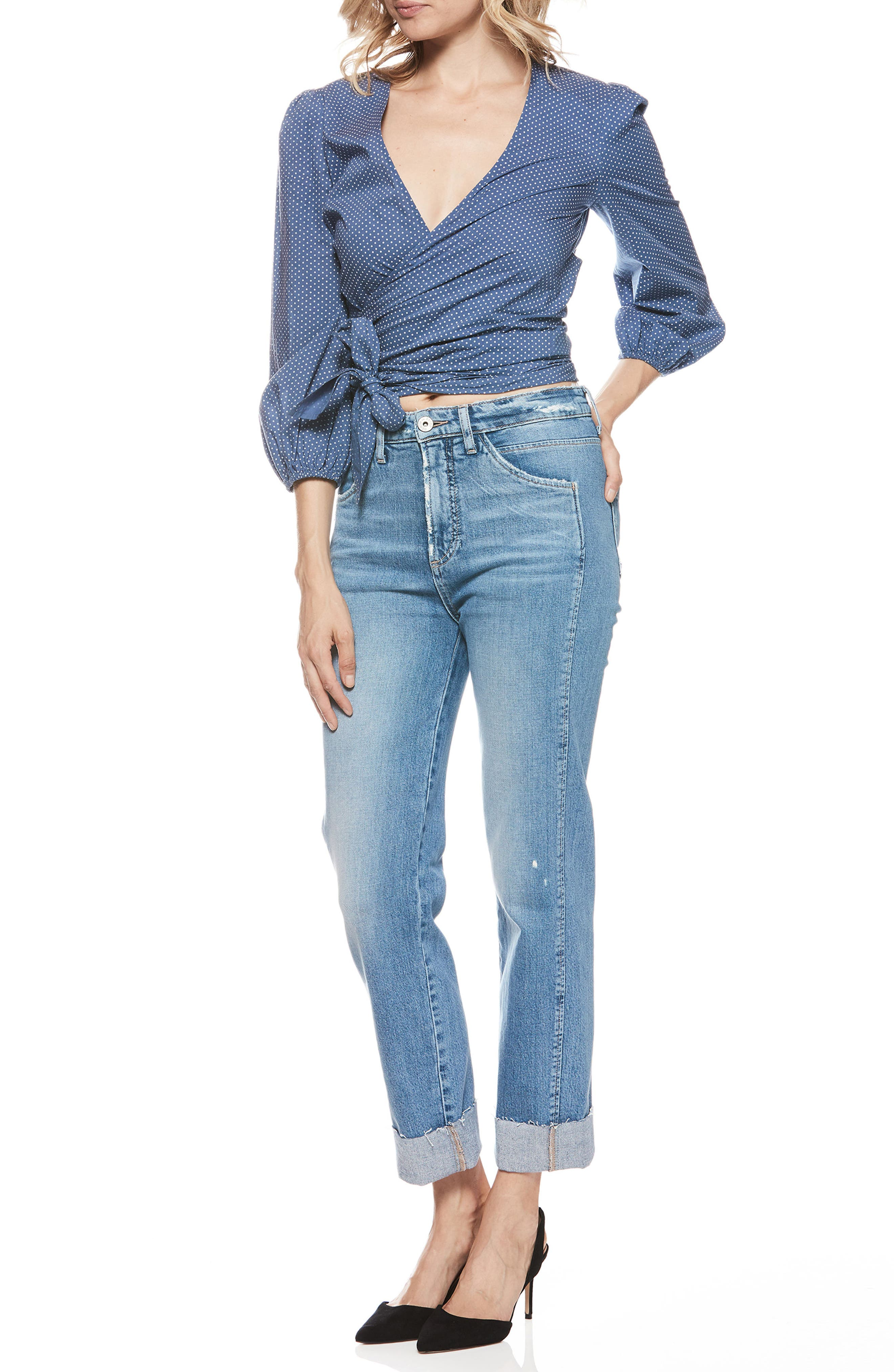 Sarah High Waist Straight Leg Jeans,                             Alternate thumbnail 3, color,                             400